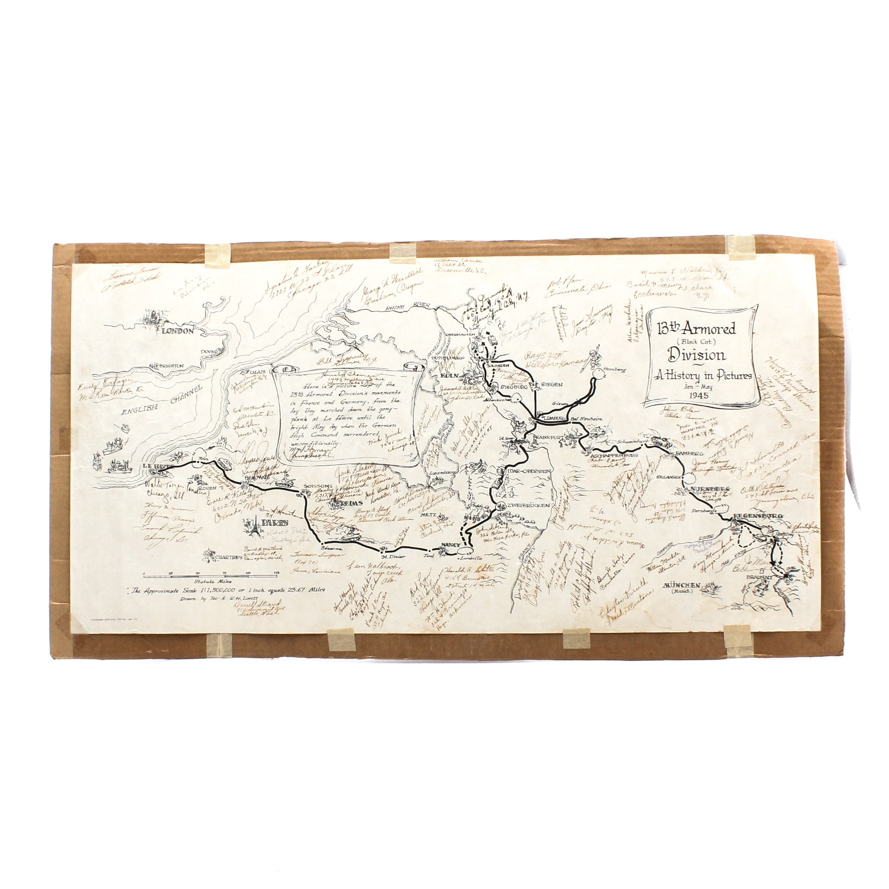 Map of 13th Armored Division Movements with Soldier Autographs