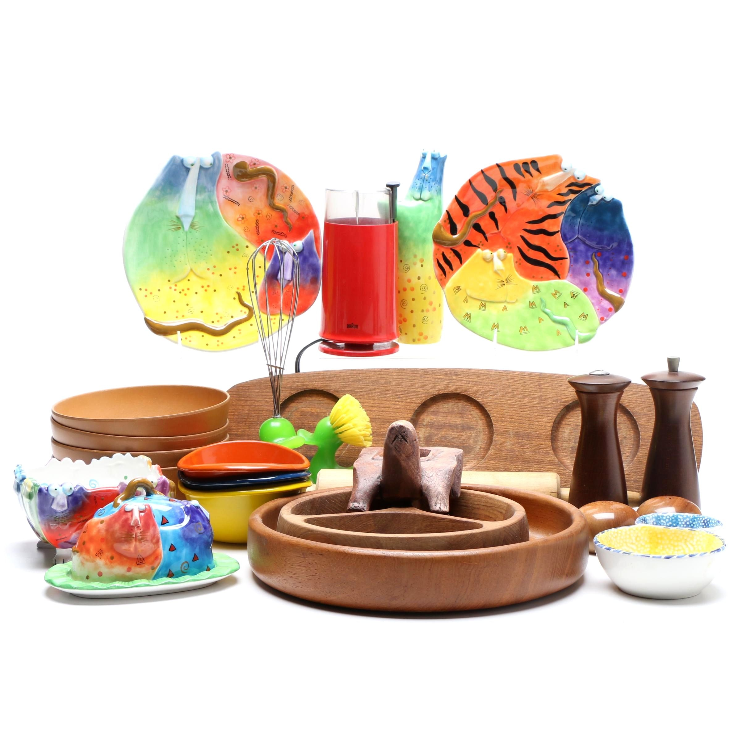 Assorted Tableware and Colorful Serveware Featuring Joy Cats