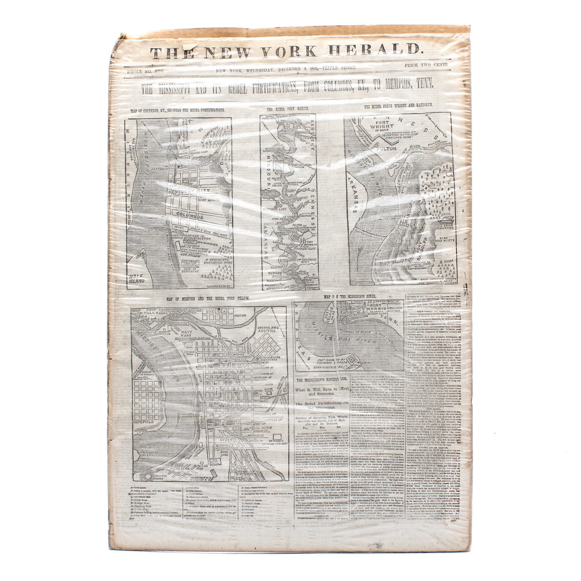 1861 New York Herald with Civil War Maps
