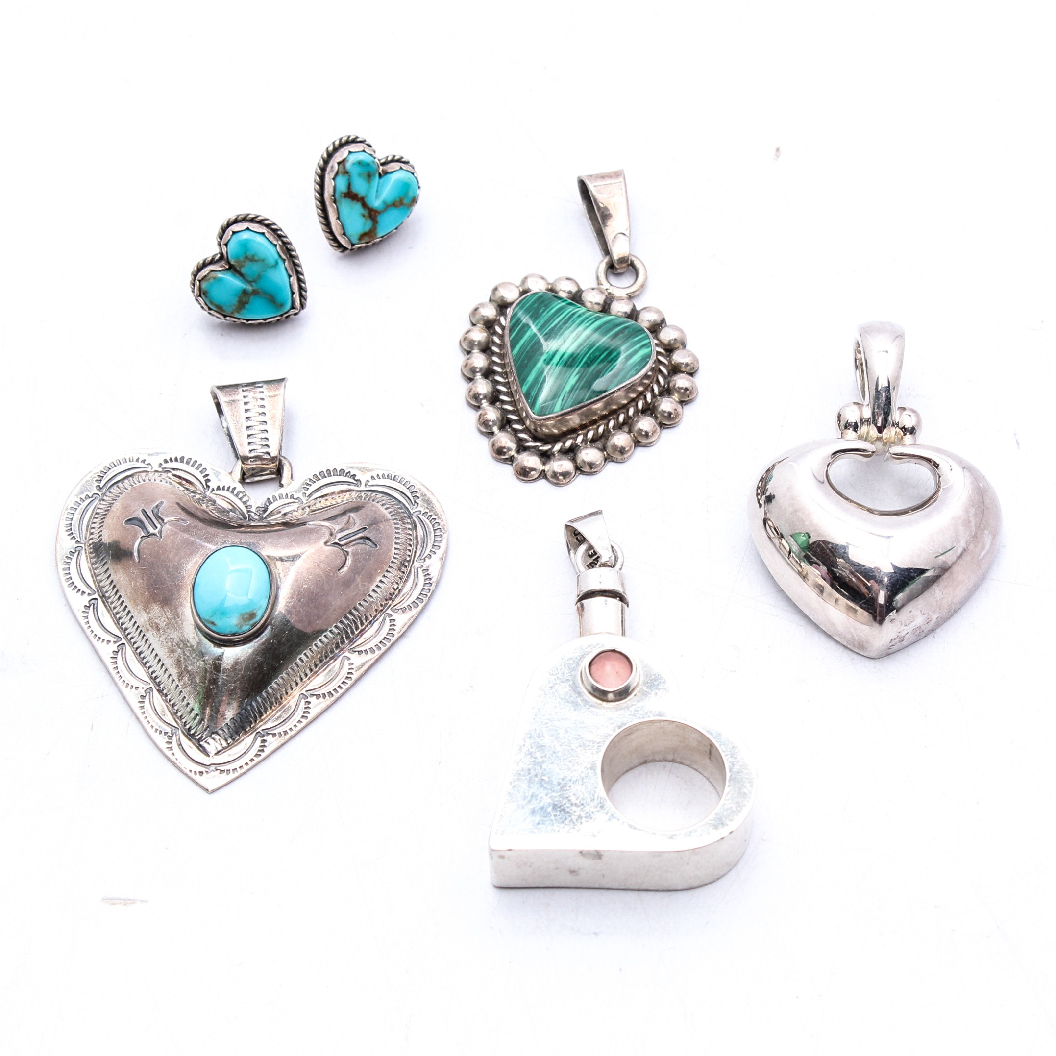 Sterling Silver Heart Shaped Jewelry Featuring Taxco, Esposito