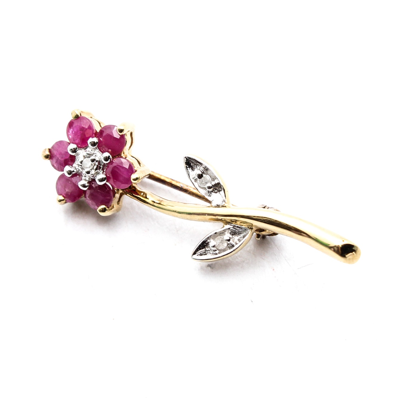 Sterling Silver Floral Brooch with Diamond and Rubies