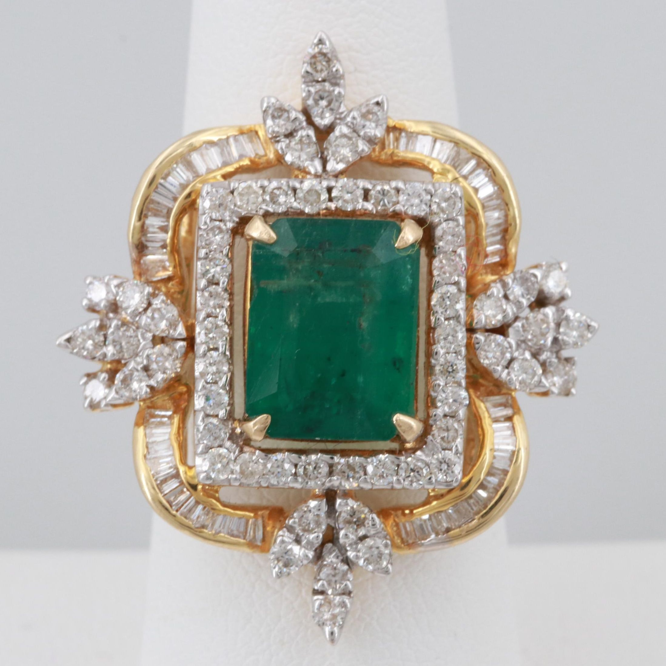 18K Yellow Gold Emerald and 1.74 CTW Ring