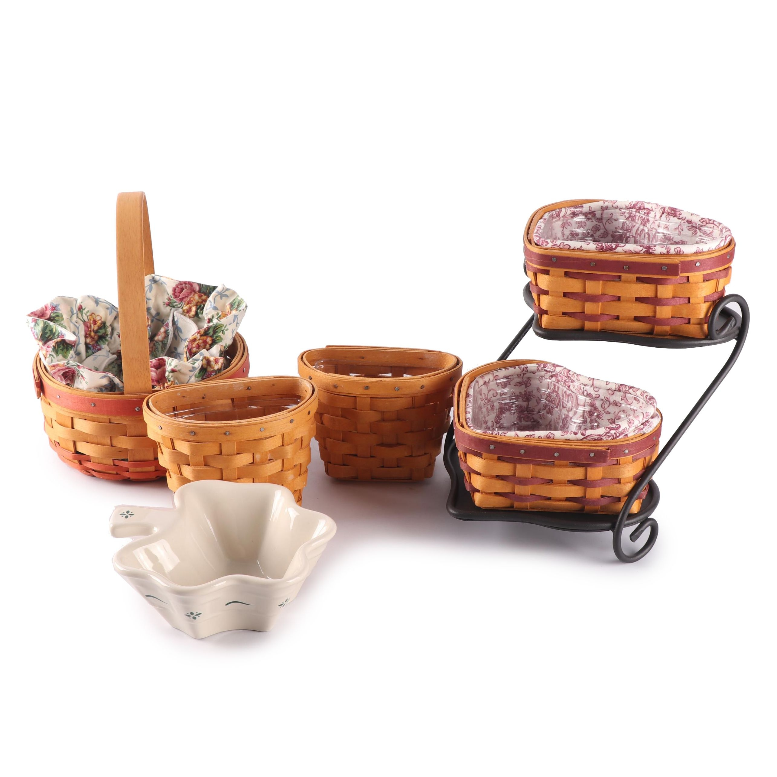 Longaberger Baskets Including Stand and Shamrock Candy Dish