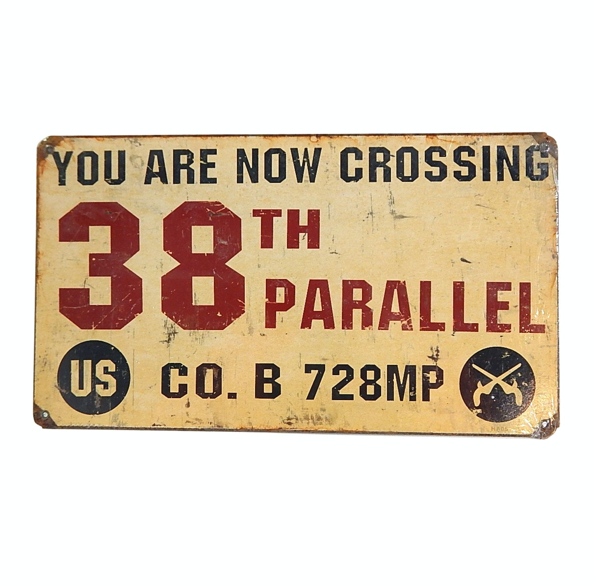 38th Parallel Metal Sign, Mid-Century