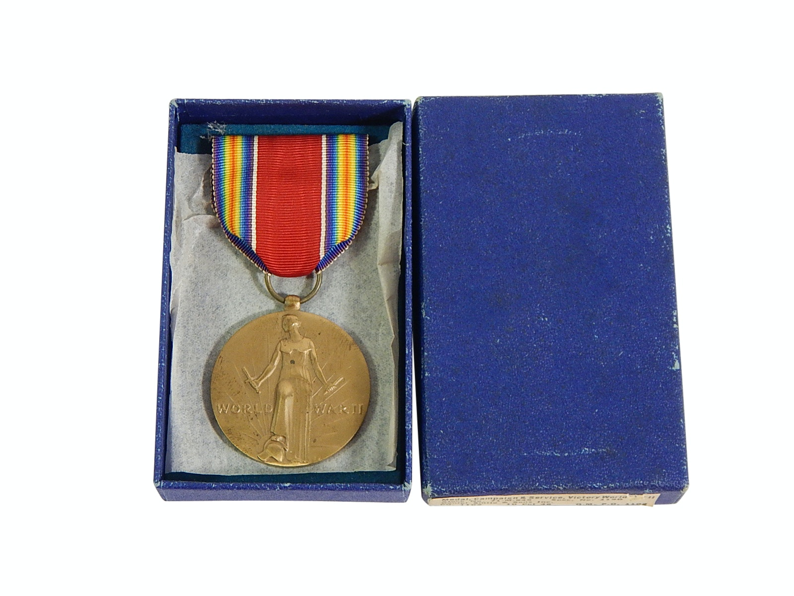 WWII Victory Medal and Ribbon in Original Presentation Box