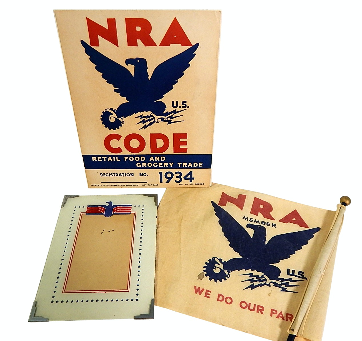 1930s Era National Recovery Administration NRA Signage, Frame, and Flag