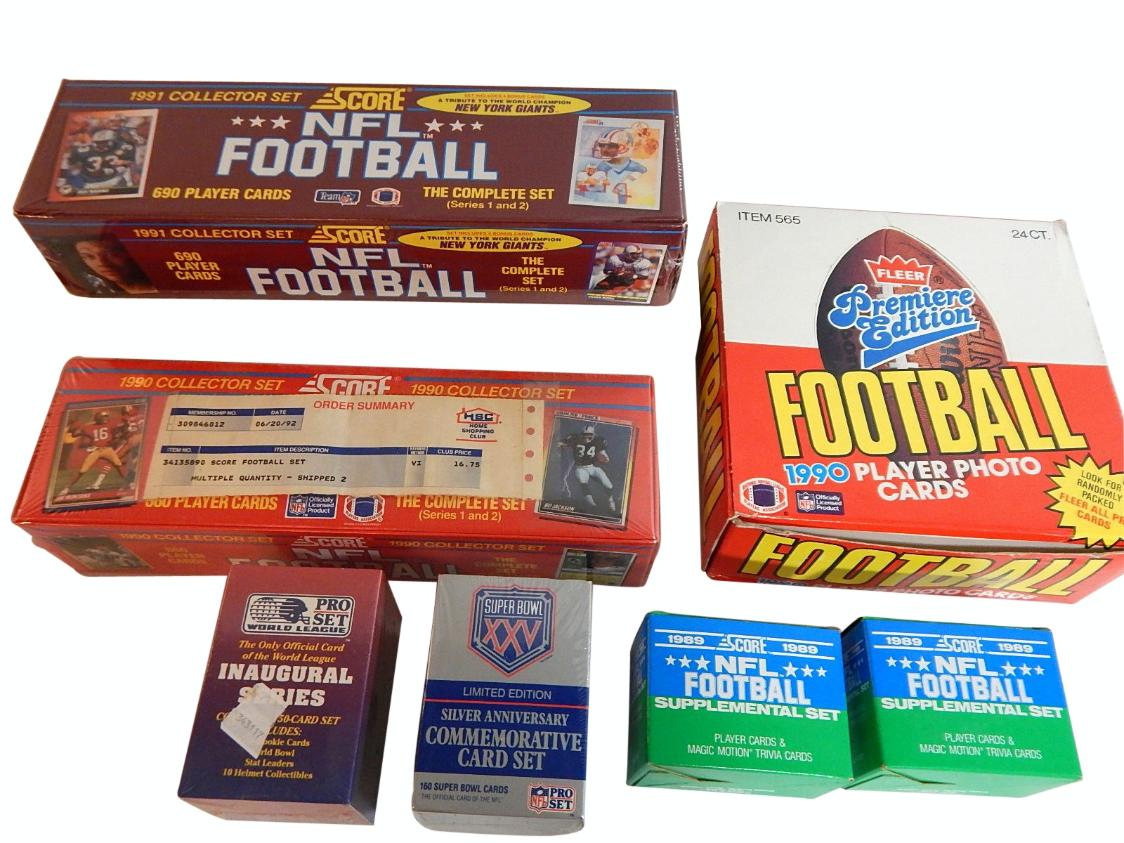 Football Card Sets with 1989, 1990, 1991 Unopened and Sealed Sets