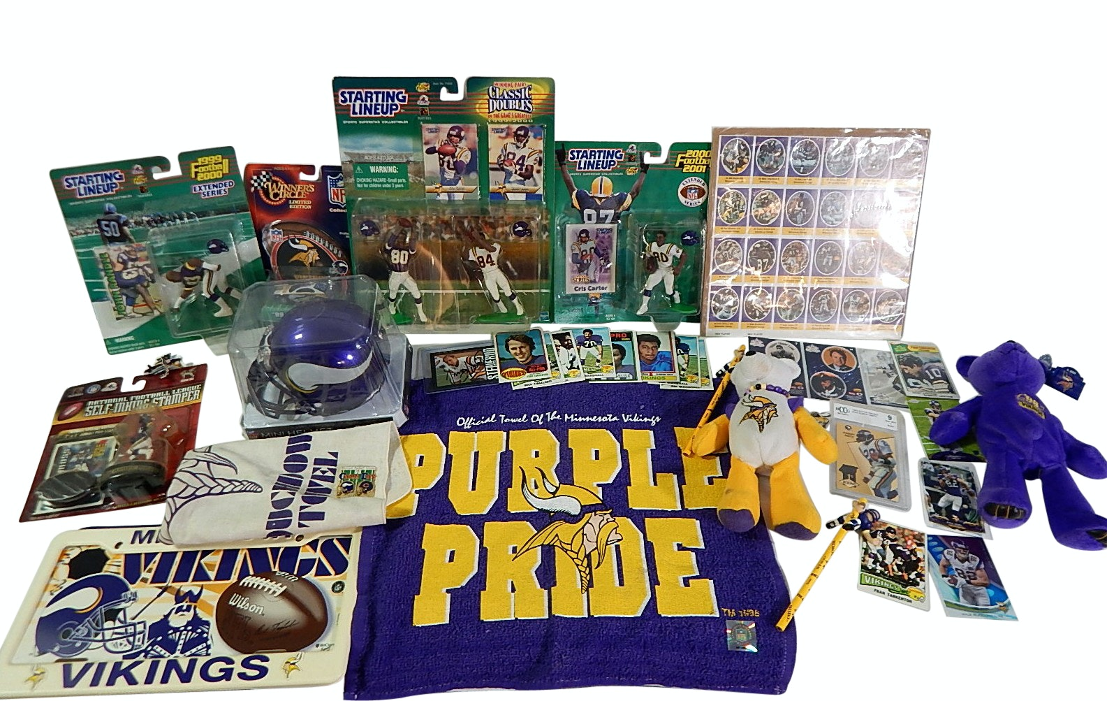 NFL Minnesota Vikings Collectibles Lot with Jan Stenurud Signed Card, Towels