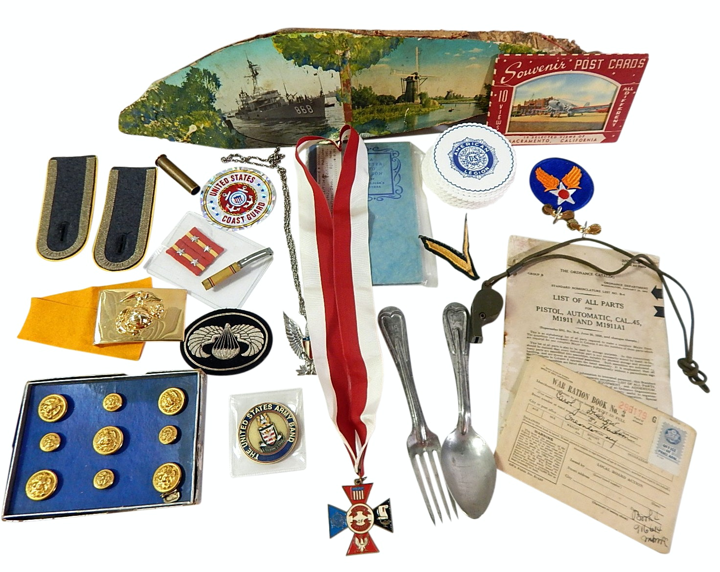 Military Collectibles with Buttons, Rations, Patches, 1918 U.S. Fork/Spoon, More