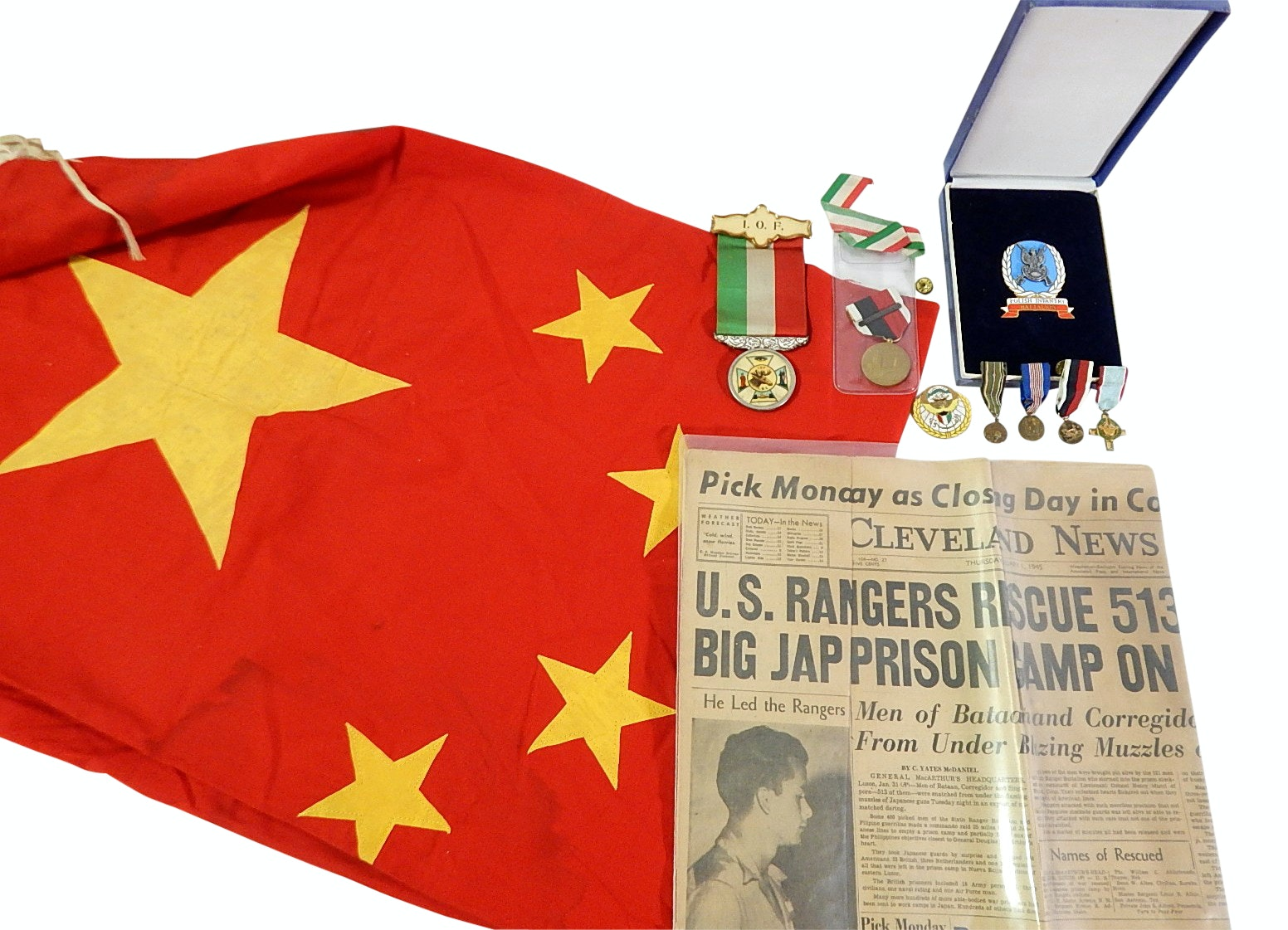 Foreign Related Military Collectibles with Medals, Newspapers,Vintage China Flag