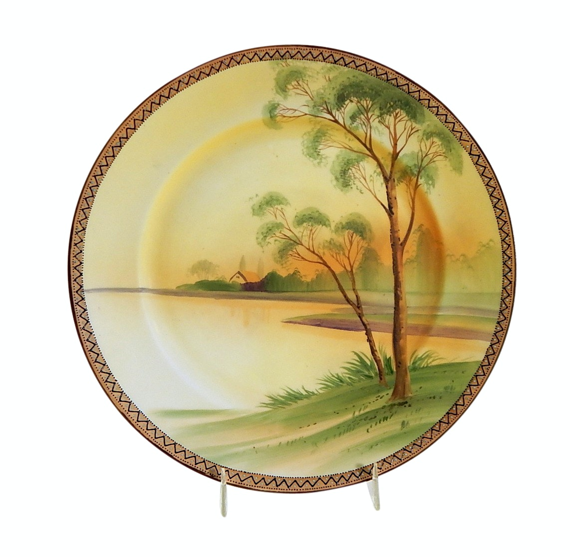 Antique Hand Painted Nippon River Scene Maple Leaf Backstamped Plate
