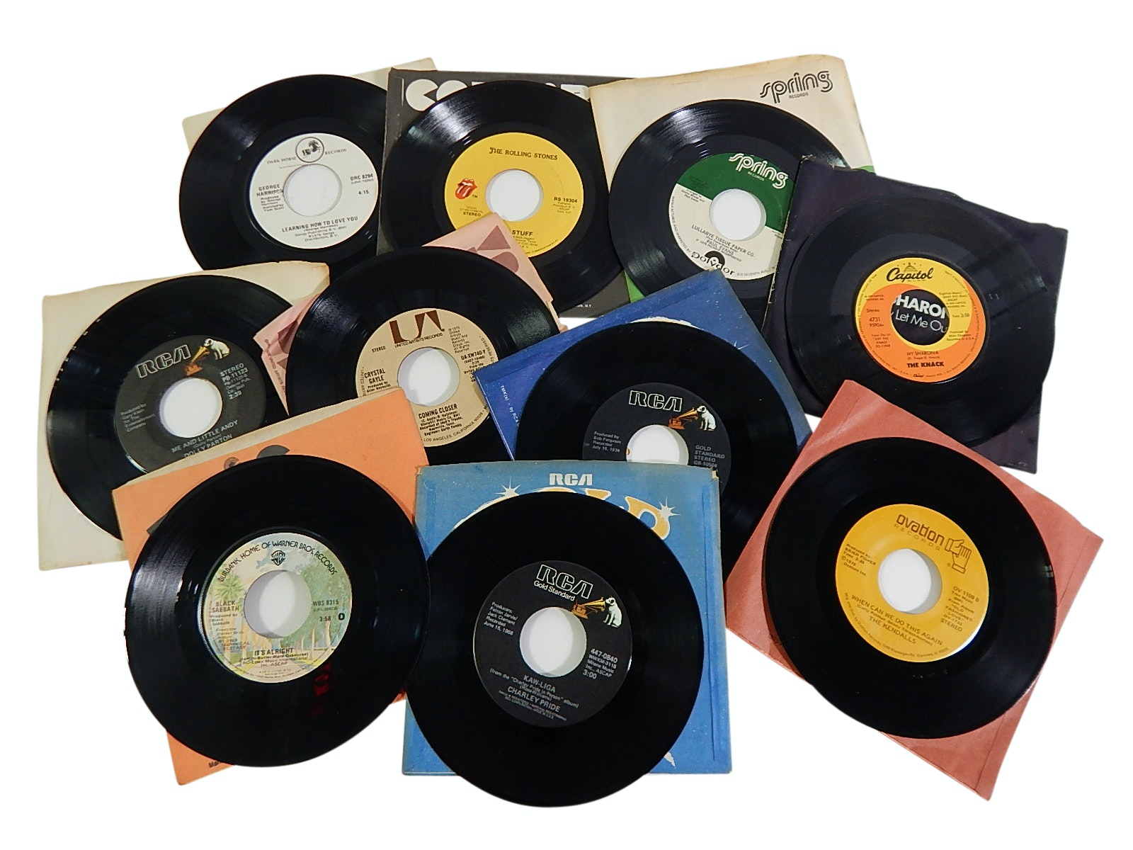 1960s/1970s 45 RPM Record Albums with R&B, Rock, Country, Pop -Rolling Stones
