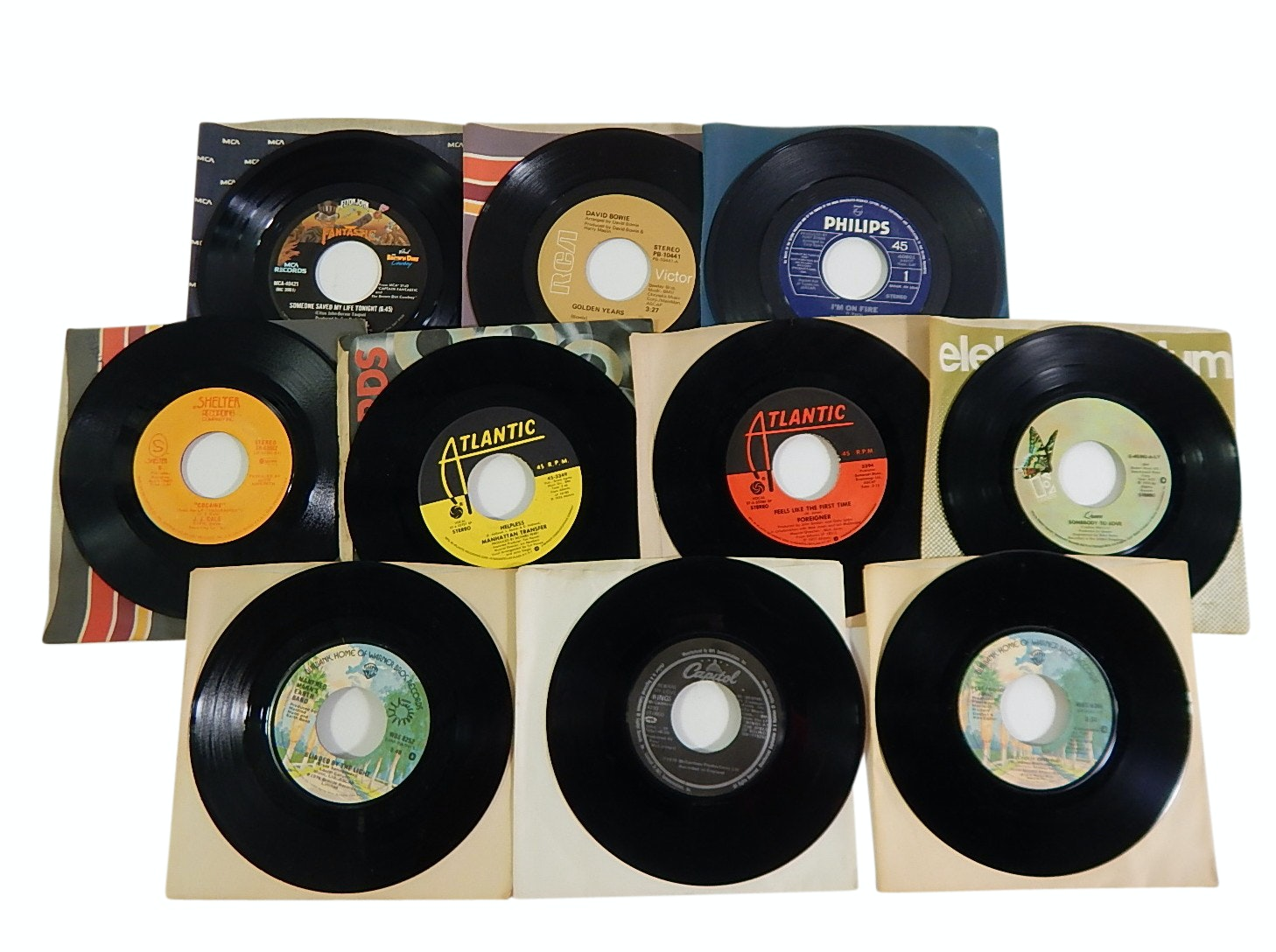 1960s/1970s 45 RPM Record Albums with R&B, Country, Rock, Pop - Bowie,Queen