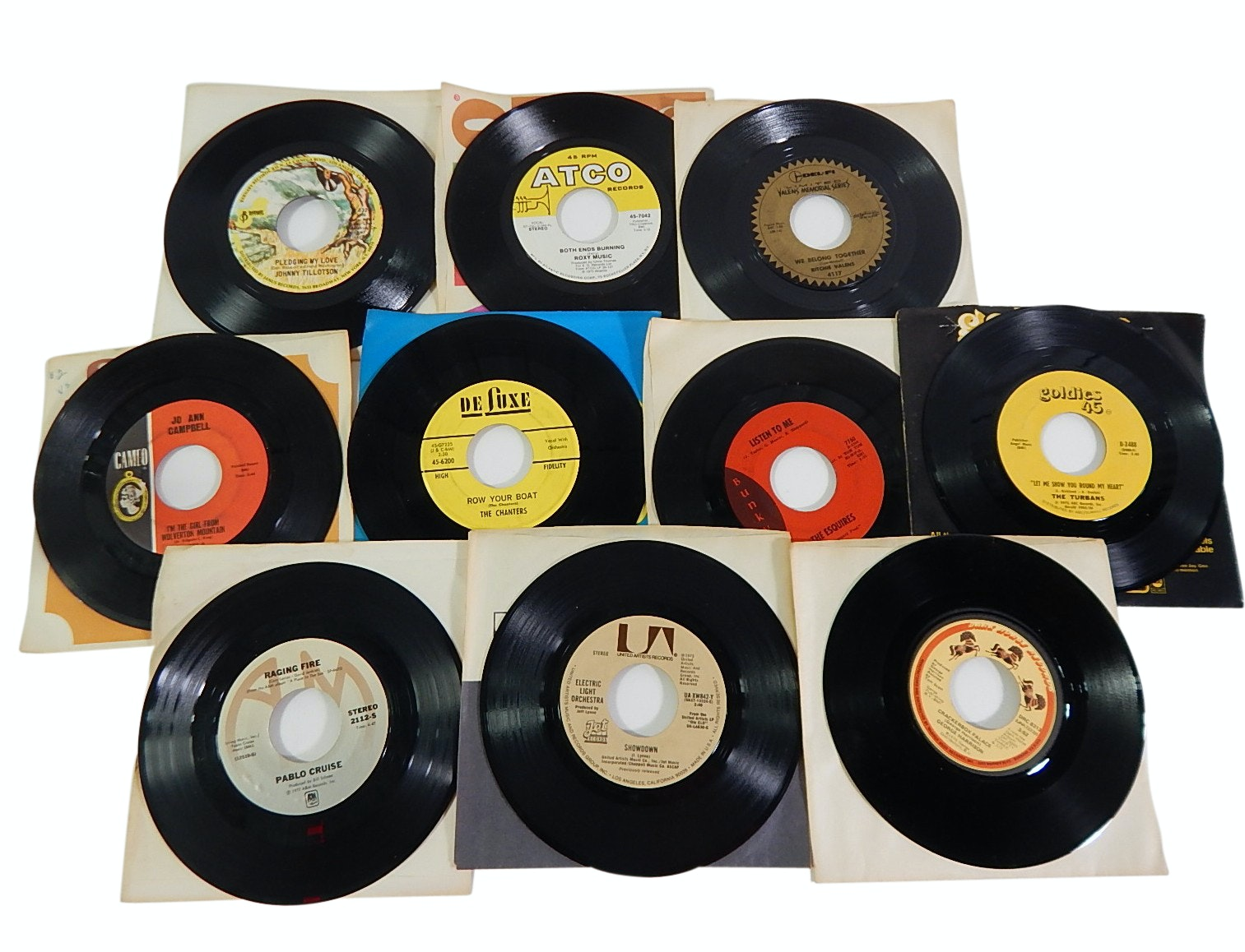 Collection of 1970s 45 RPM Record Albums with Country, Rock, Pop, R&B