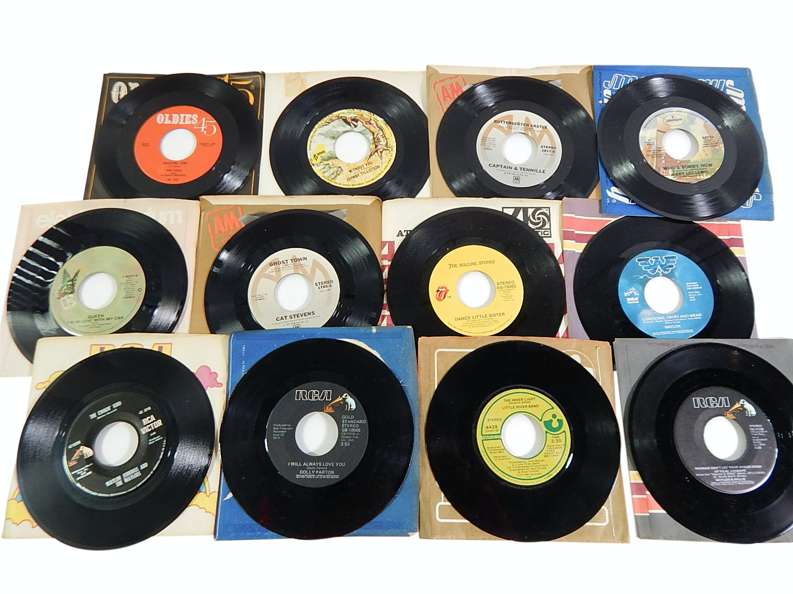 1960s/1970s 45 RPM Records with Country, Rock, Pop,R&B - Queen Bohemian Rhapsody