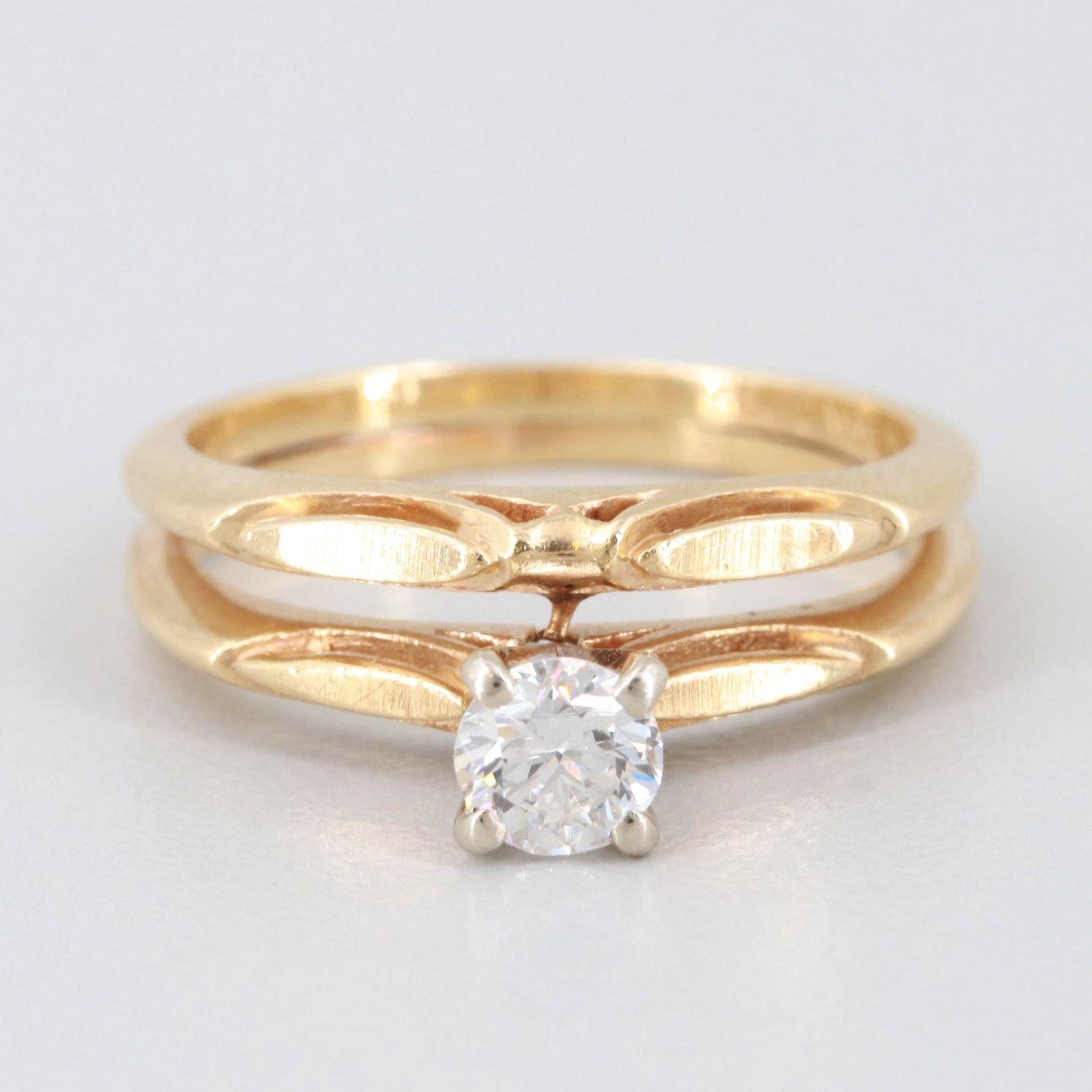 Vintage 14K Yellow Gold Diamond Soldered Ring Set