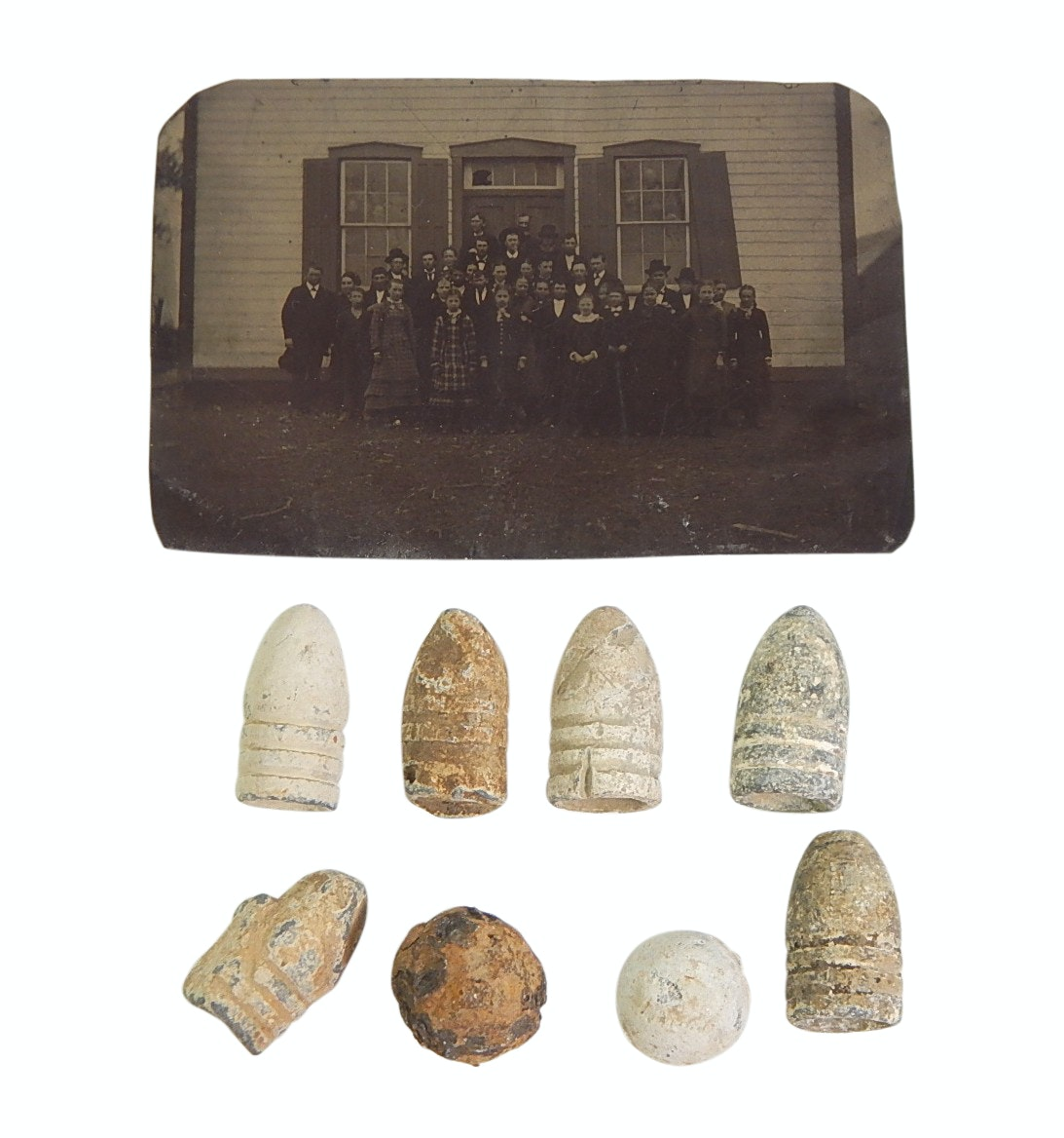 U.S. Civil War Era Lead Bullets, Musket Balls, and Tin Type Photograph