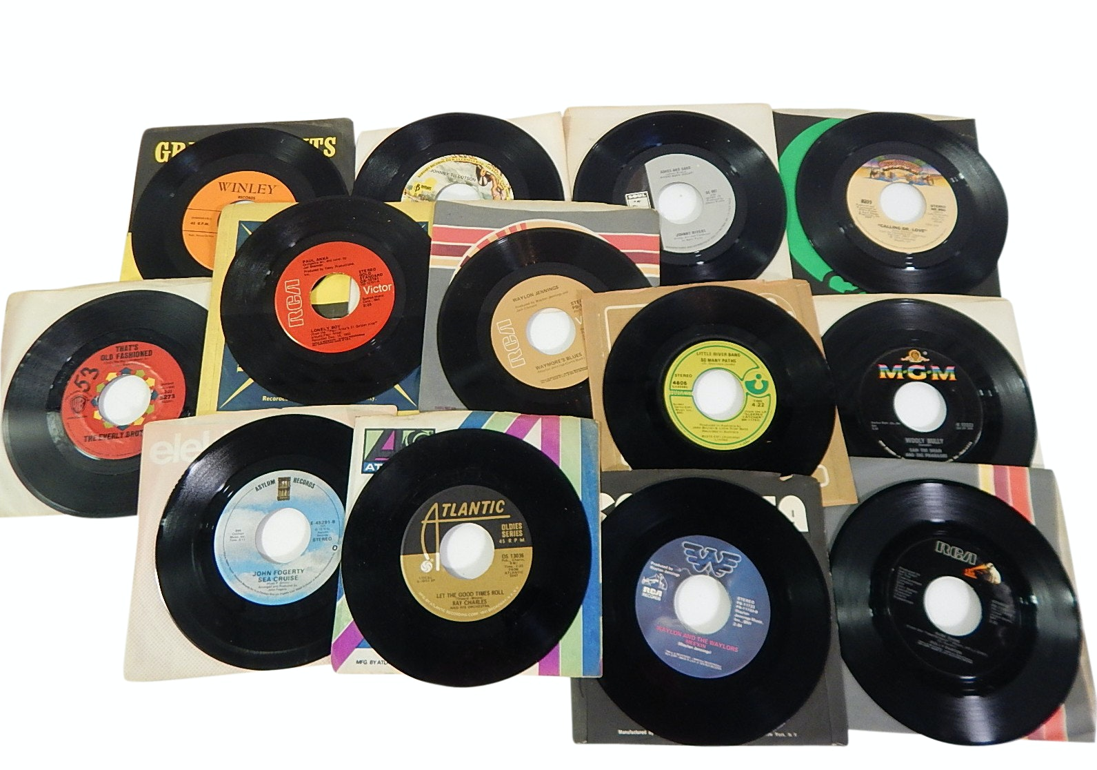 Collection of 1970s 45 RPM Record Albums with Country, Rock, Pop - Ray Charles
