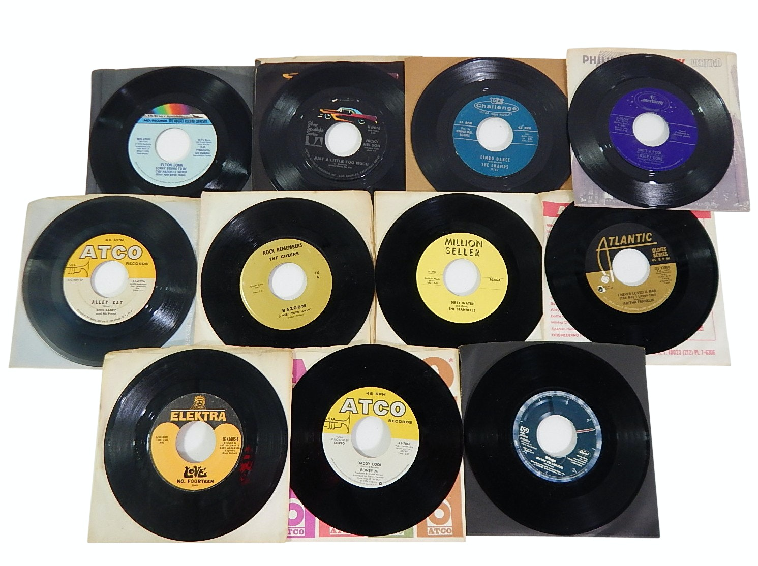 1960s/1970s 45 RPM Record Albums with Country, Rock, Pop, and R&B