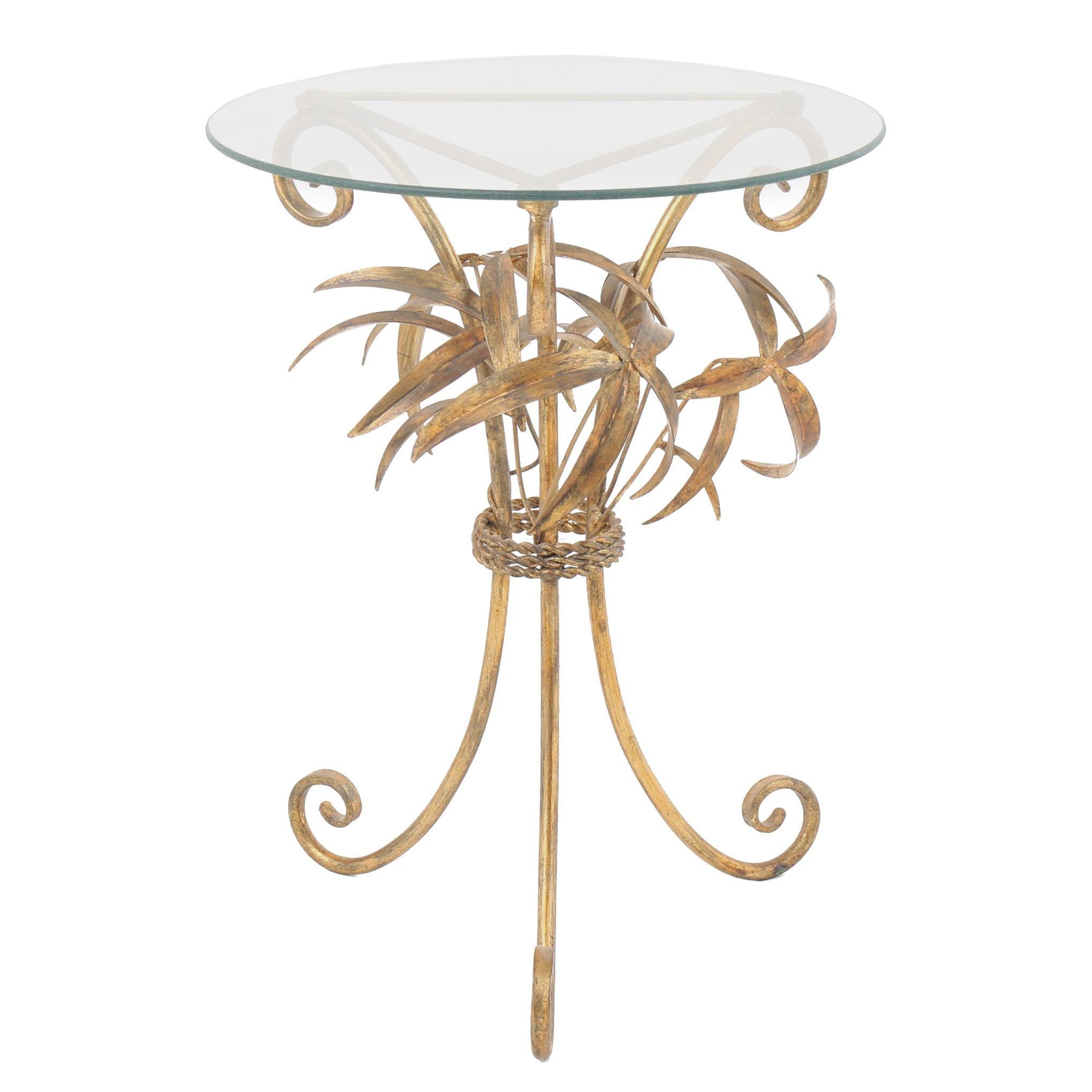 Hollywood Regency Style Leaf Sheaf Metal & Glass Side Table, 20th/21st Century
