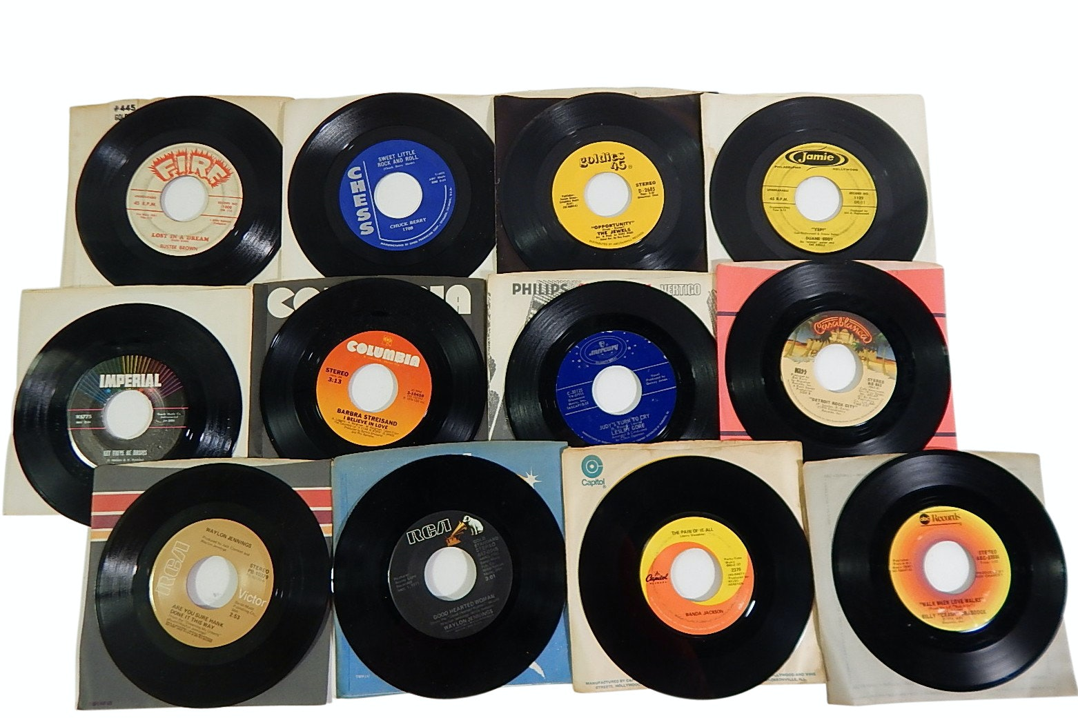 Collection of 1970s 45 RPM Record Albums with Country, Rock, Pop, and R&B
