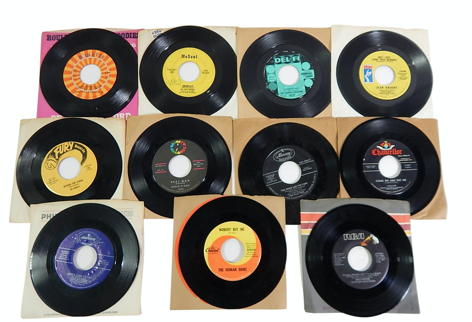 Collection of 1960s/70s 45 RPM Record Albums with Country, Rock, Pop, and R&B