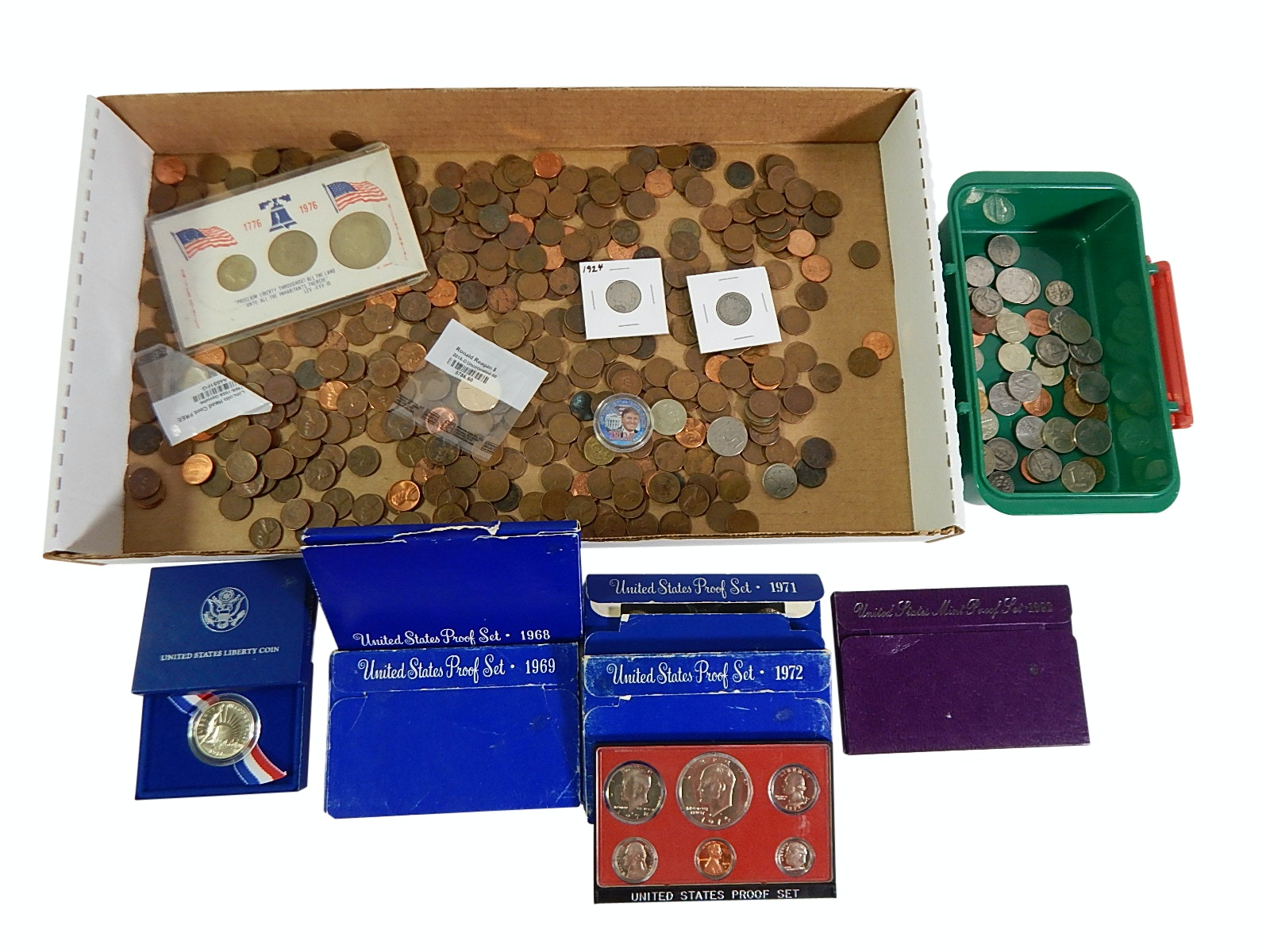 Assorted Coin Lot with Proof Sets, Wheat Pennies, and More