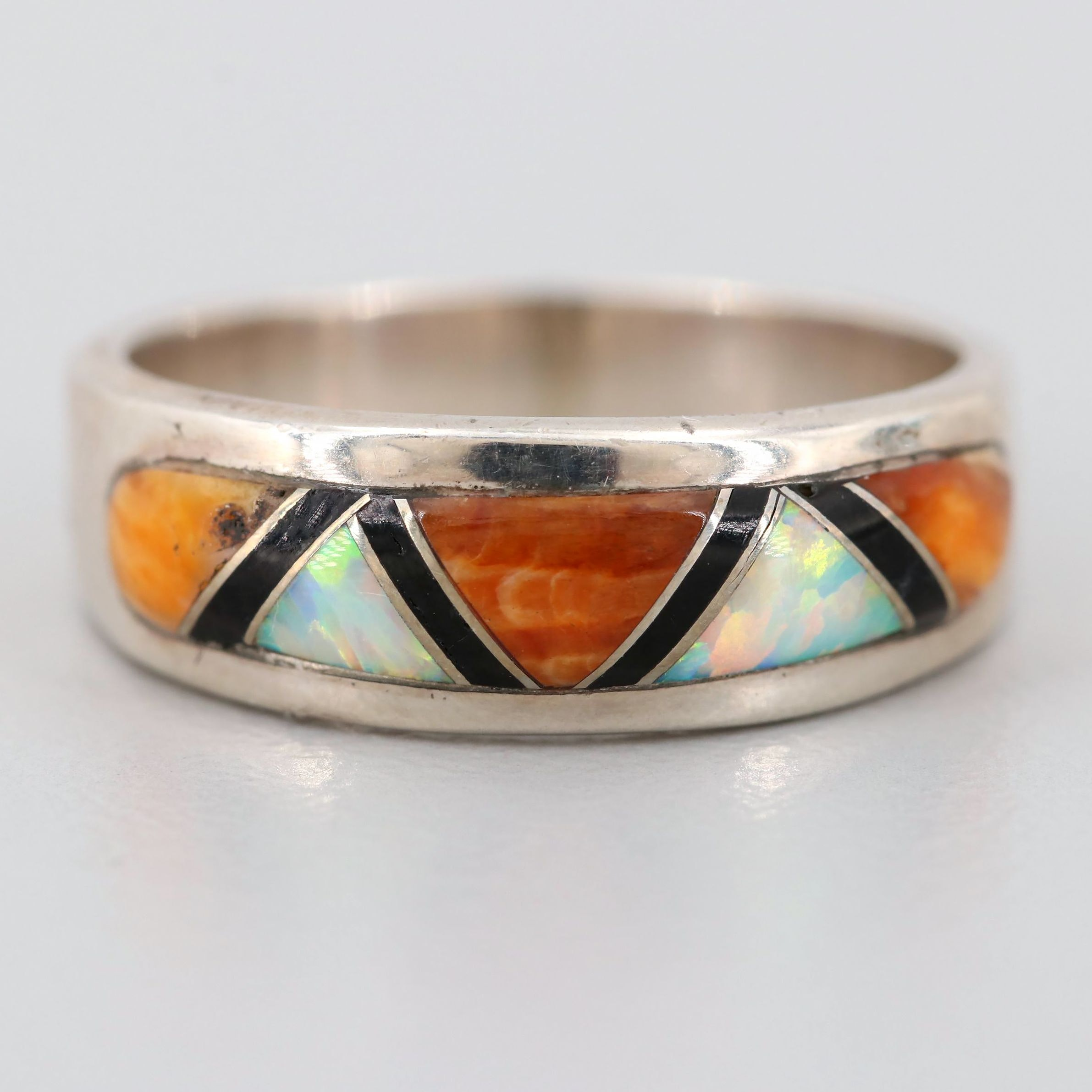 Sterling Silver Spiny Oyster, Synthetic Opal, and Resin Ring