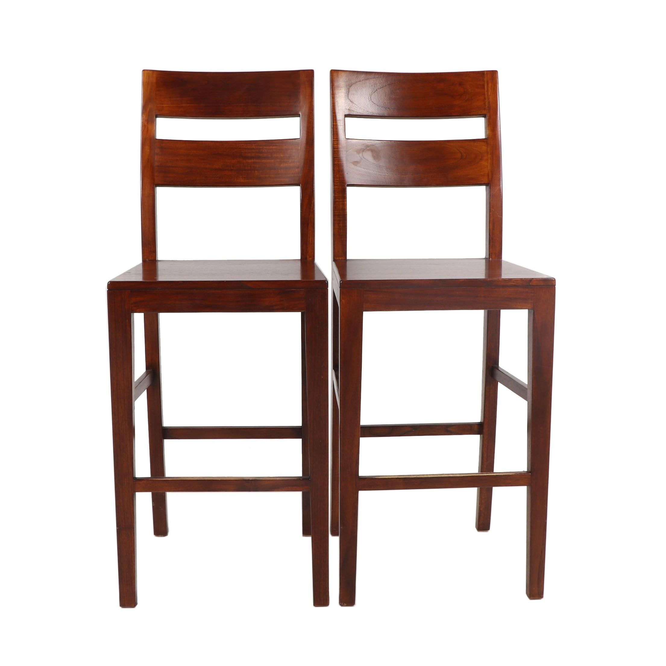 """""""Basque"""" Mangowood Bar Stool Pair by Crate & Barrel, 21st Century"""