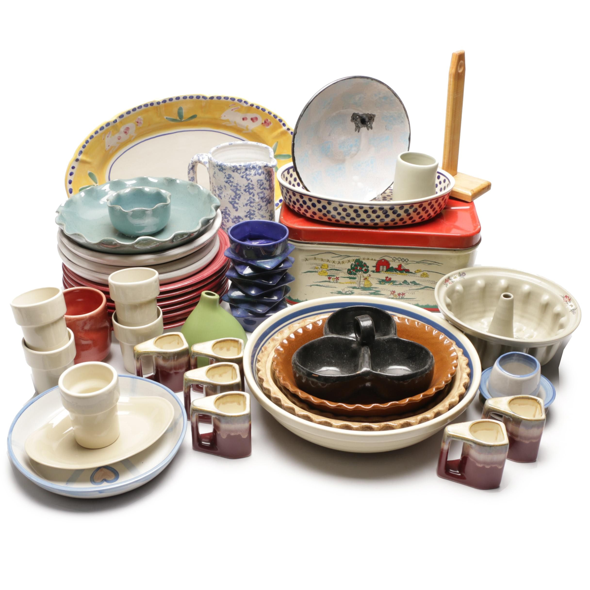 Tableware Including Boleslawiec, MA Hadley, Bybee Pottery and Handcrafted