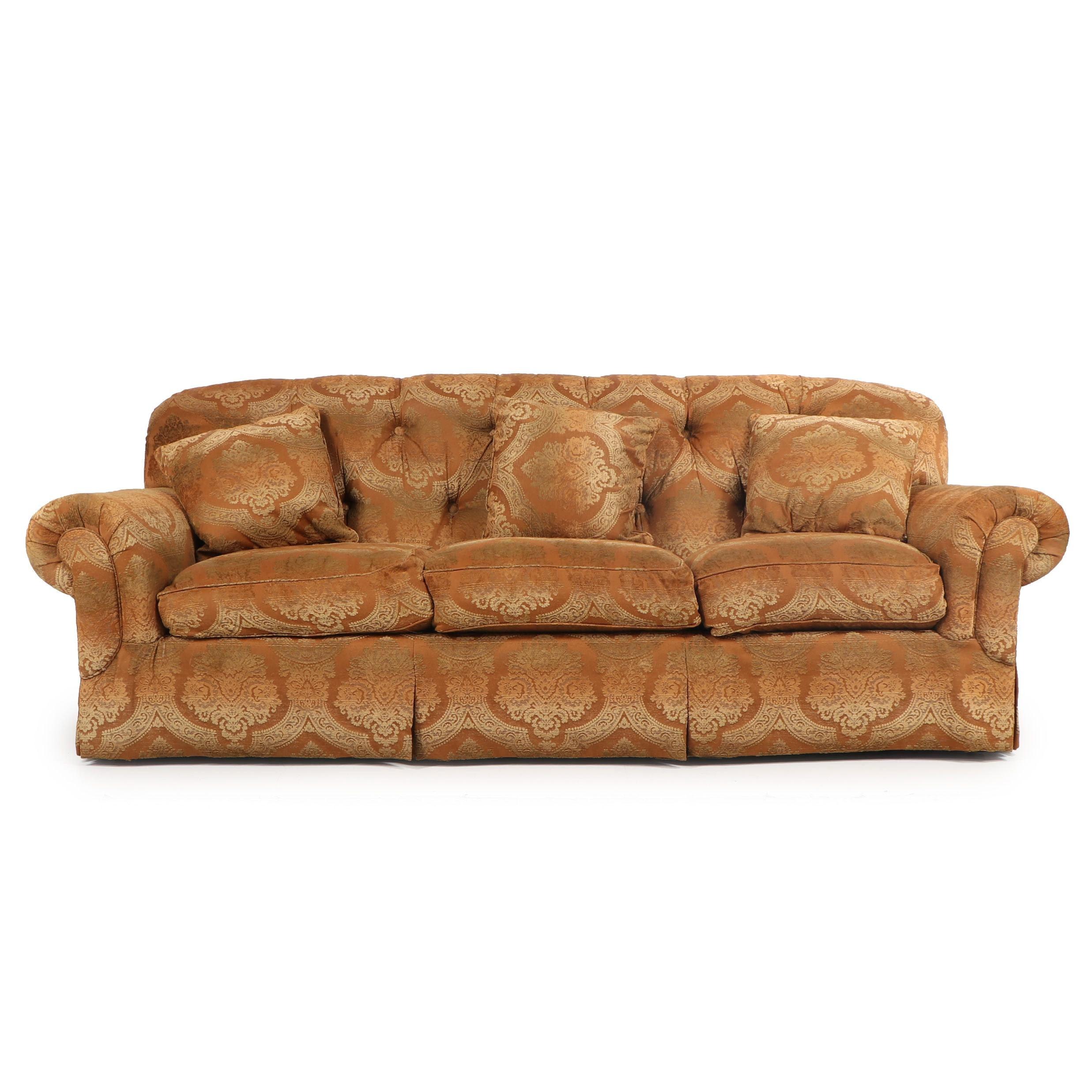 Chenille Damask Upholstered Sofa, 21st Century