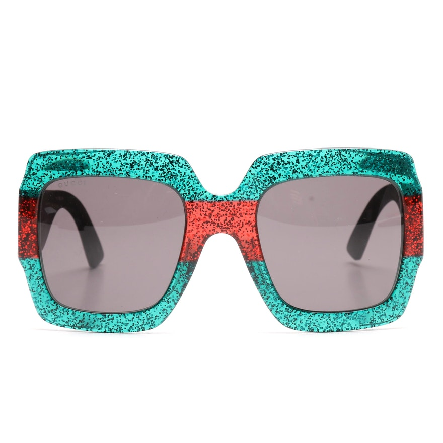 24645eacb3 Gucci Oversized Square Glitter Sunglasses with Case   EBTH
