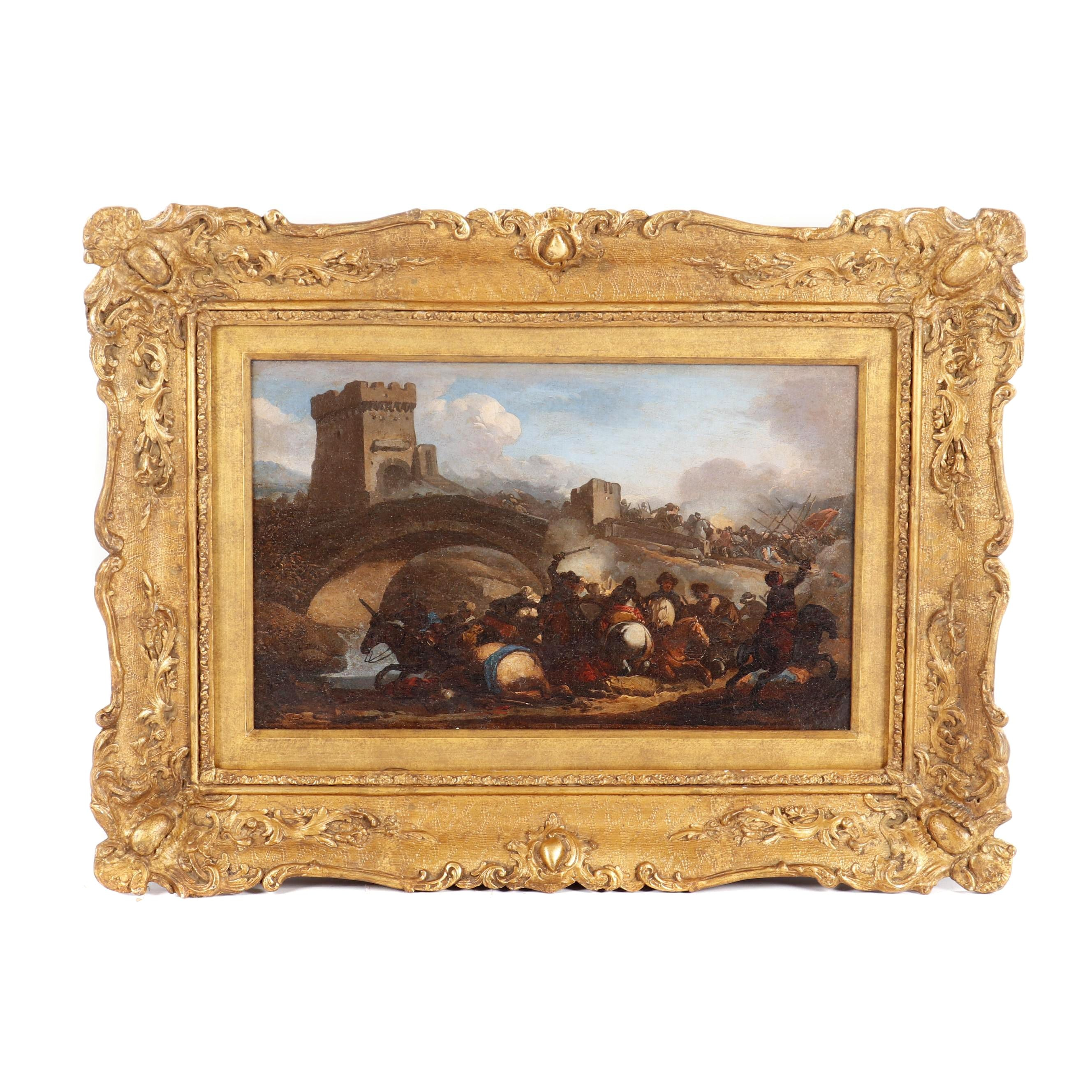 19th Century Cavalry Battle Scene Oil Painting