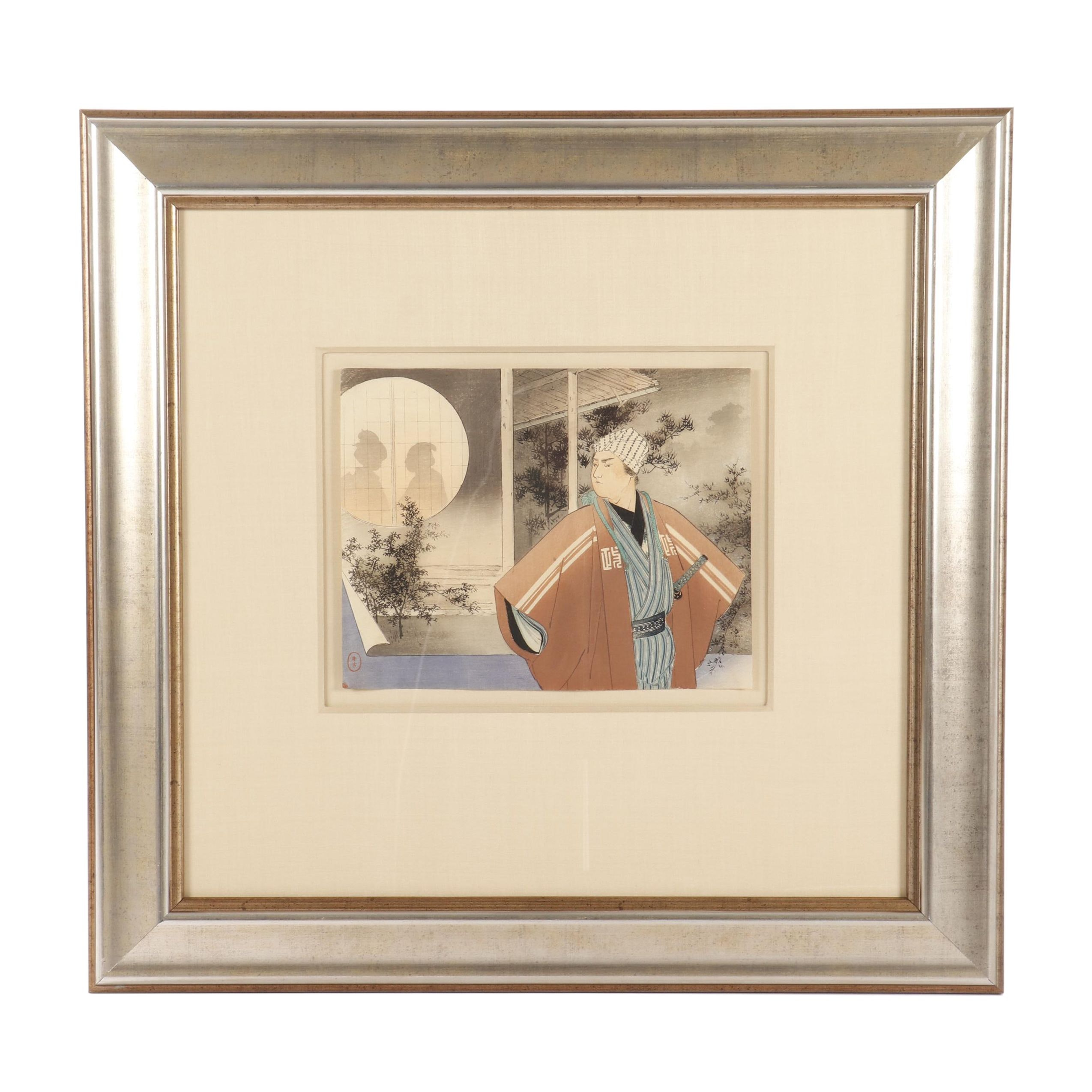 "Mizuno Toshikata Kuchi-e Woodblock ""Samurai and Silhouettes"""