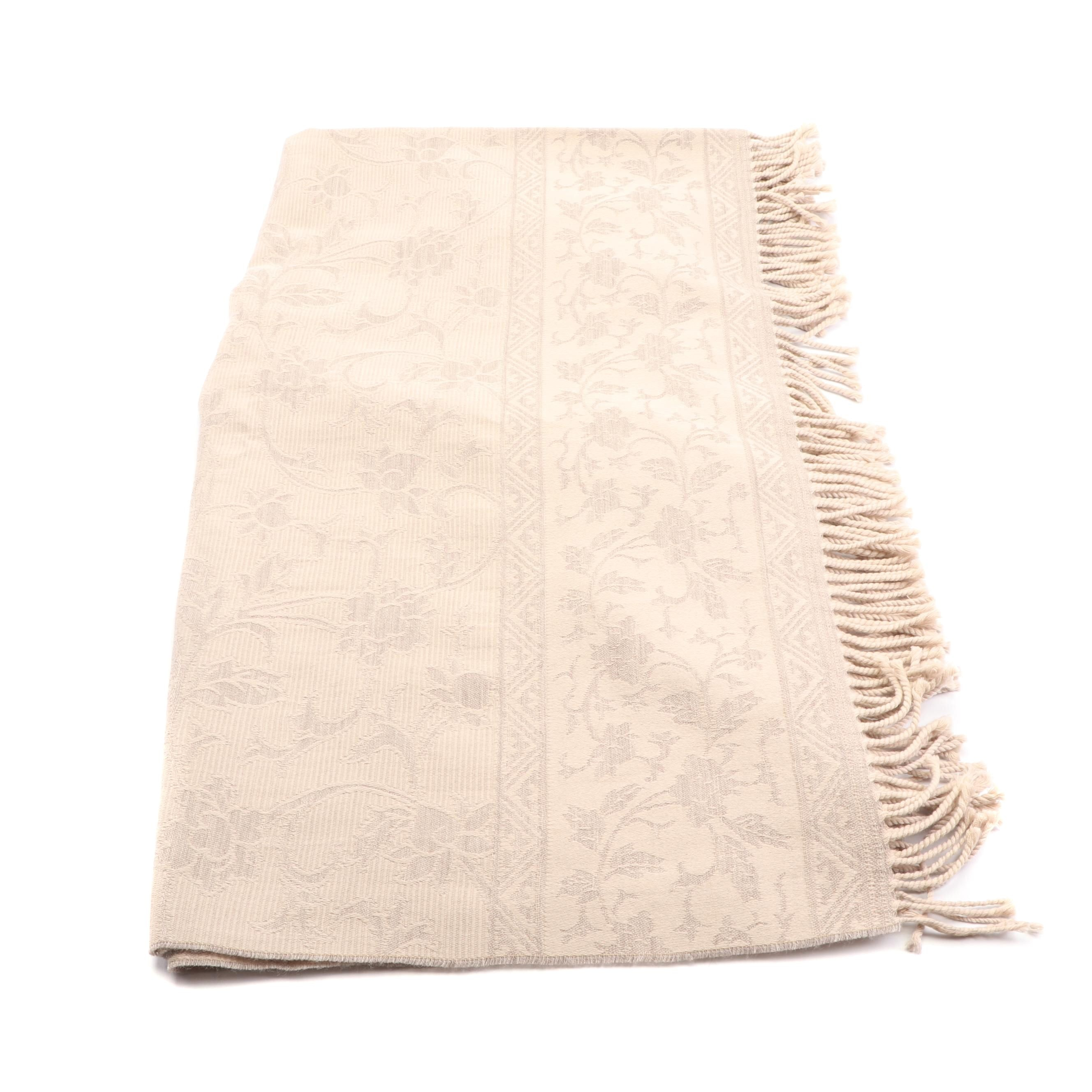 Cecchi e Cecchi Beige Wool Floral Pattern Fringed Shawl, Made in Italy