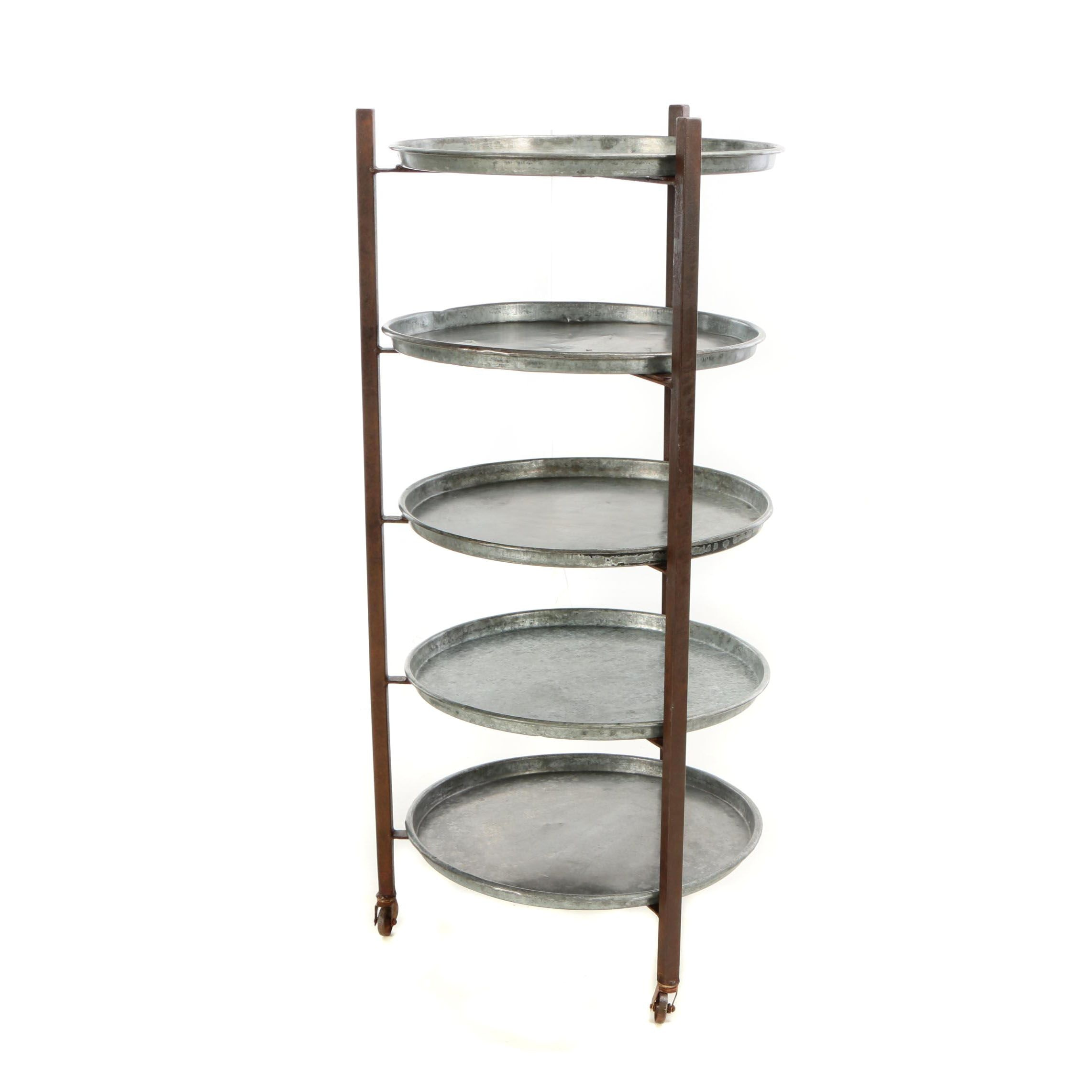 Industrial Style Tiered Rolling Display Rack with Galvanized Trays