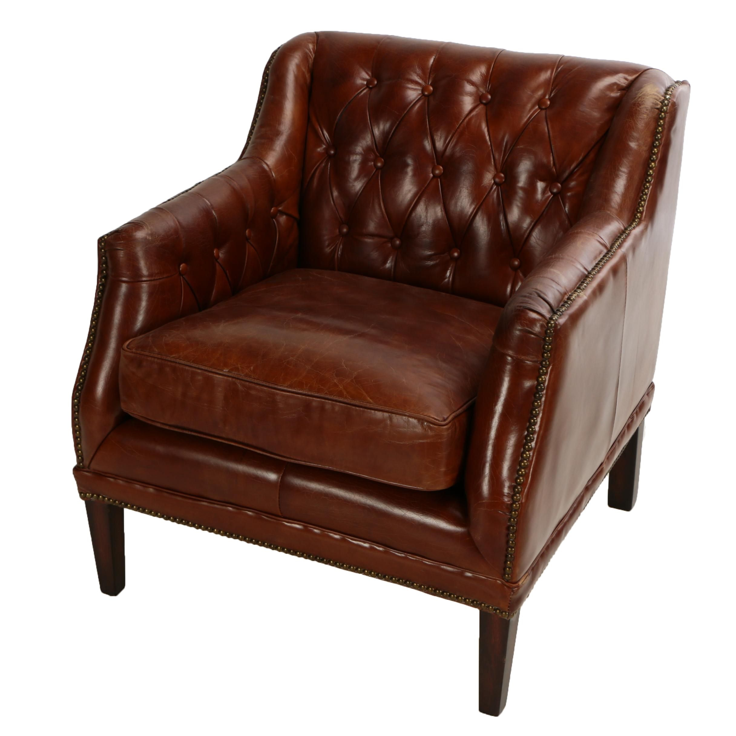 "Chesterfield Style ""Chatsworth"" Button Tufted Cognac Leather Club Chair"