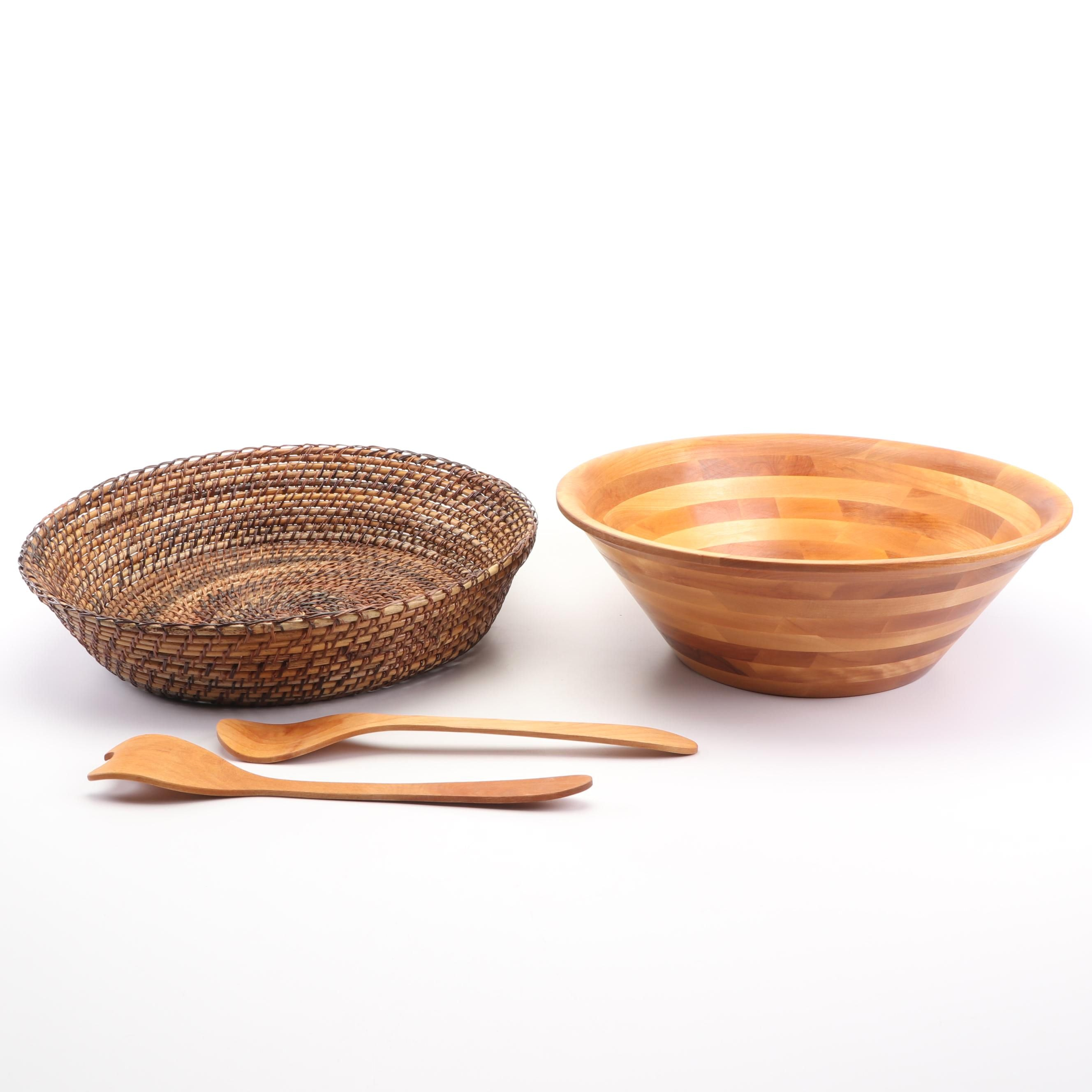 John McLeod Wooden Salad Bowl, Servers, and Woven Basket by Williams-Sonoma