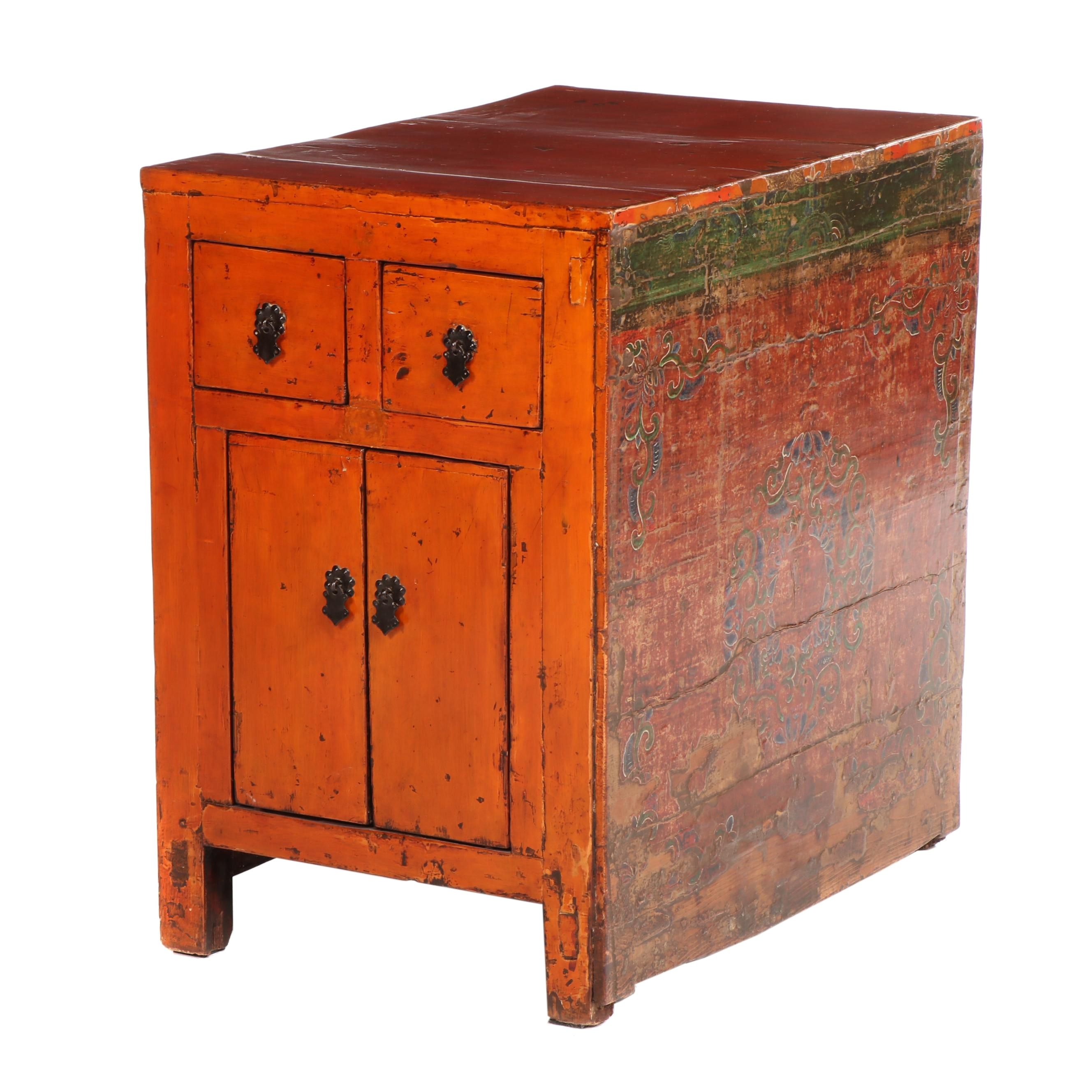 Sino-Tibetan Red Lacquered and Painted Wood Cabinet, Early/Mid-20th Century