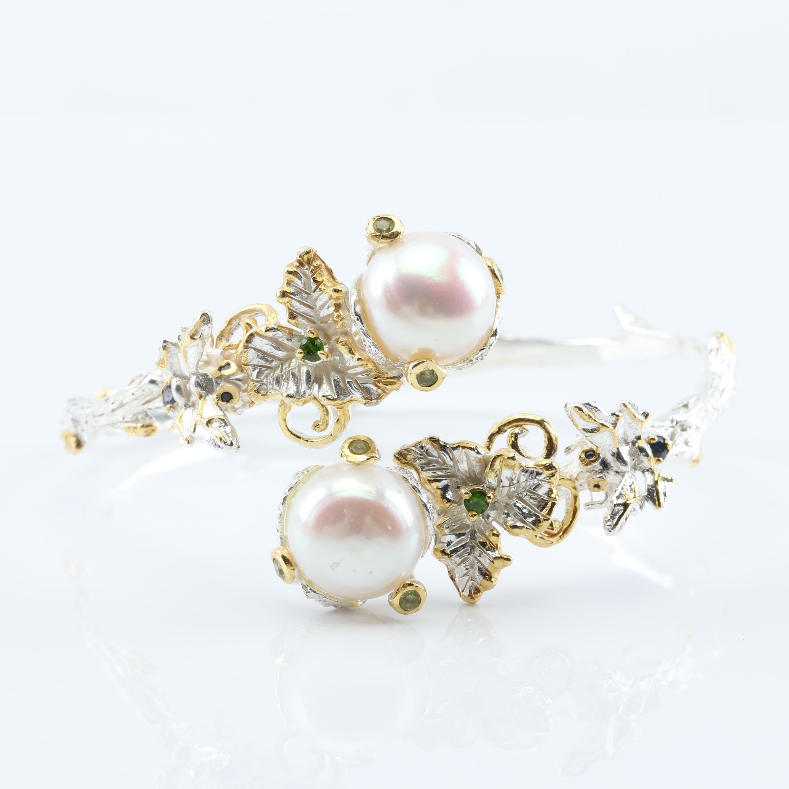 Sterling Silver Freshwater Pearl and Multi-Gemstone Cuff Bracelet