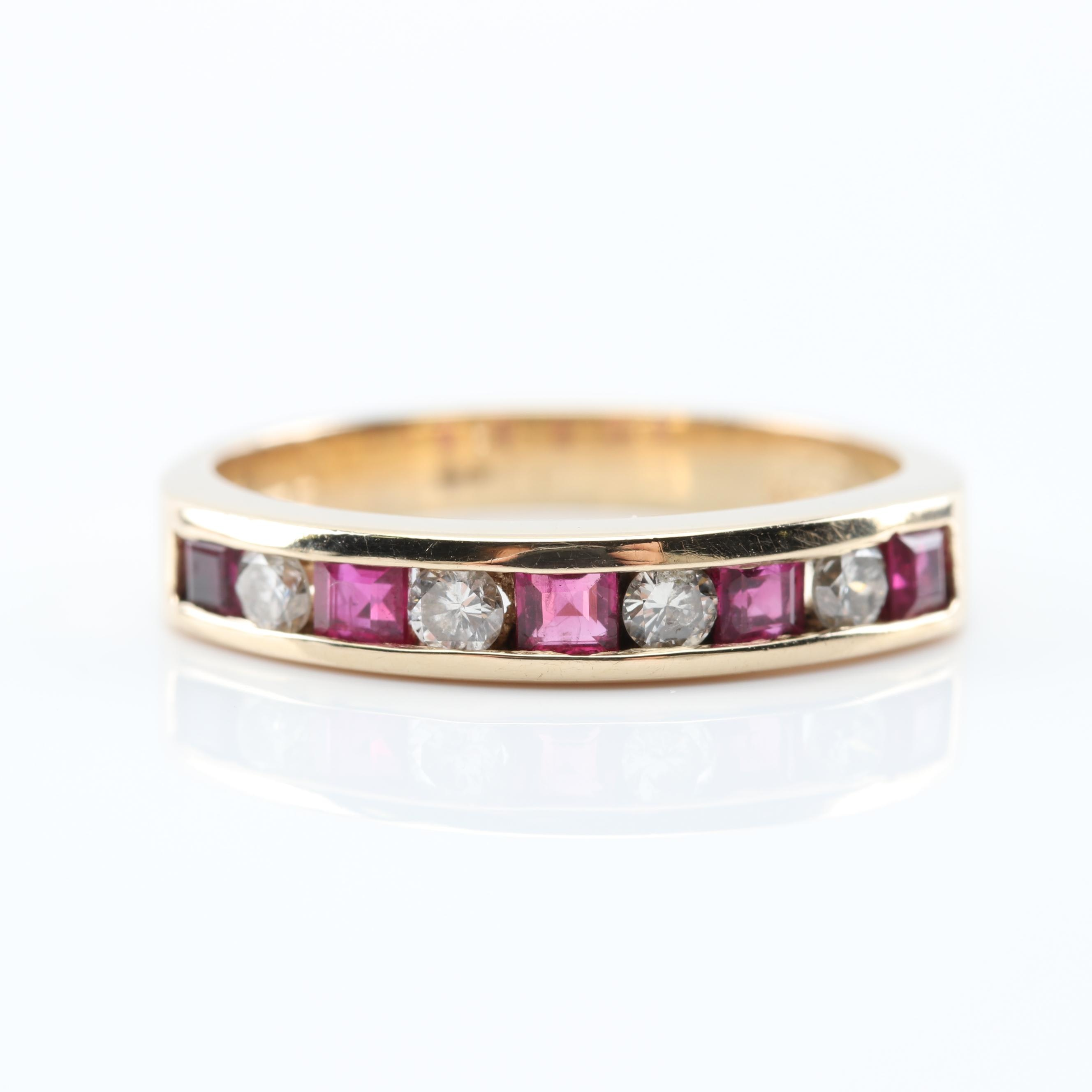14K Yellow Gold Ruby and Diamond Channel Set Band