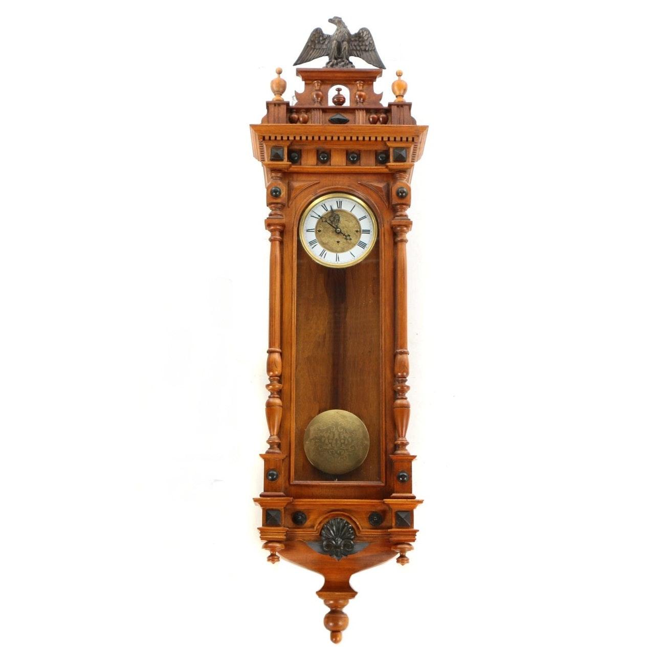 Vienna Style Walnut Regulator Clock, 20th Century