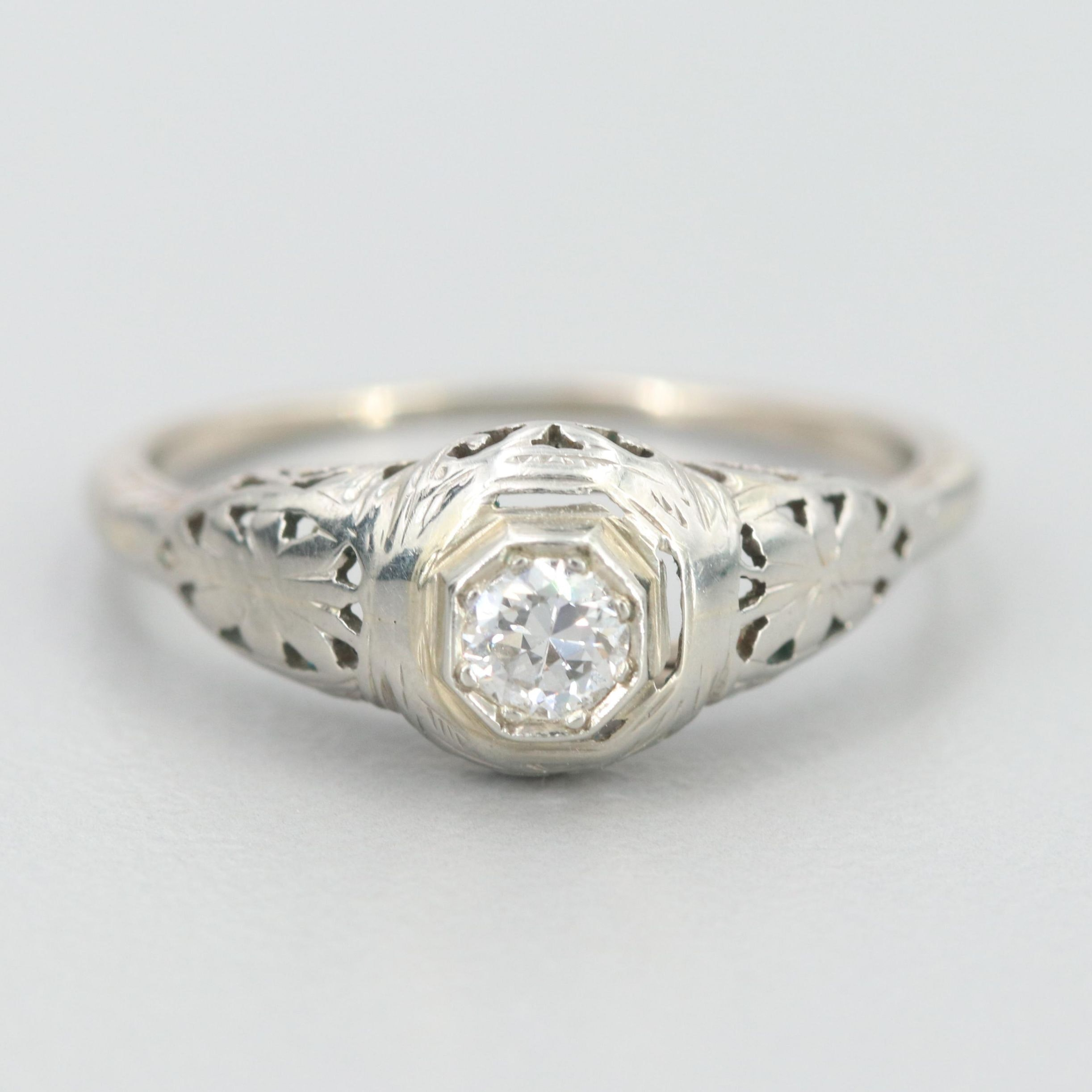 Edwardian 10K White Gold Diamond Ring