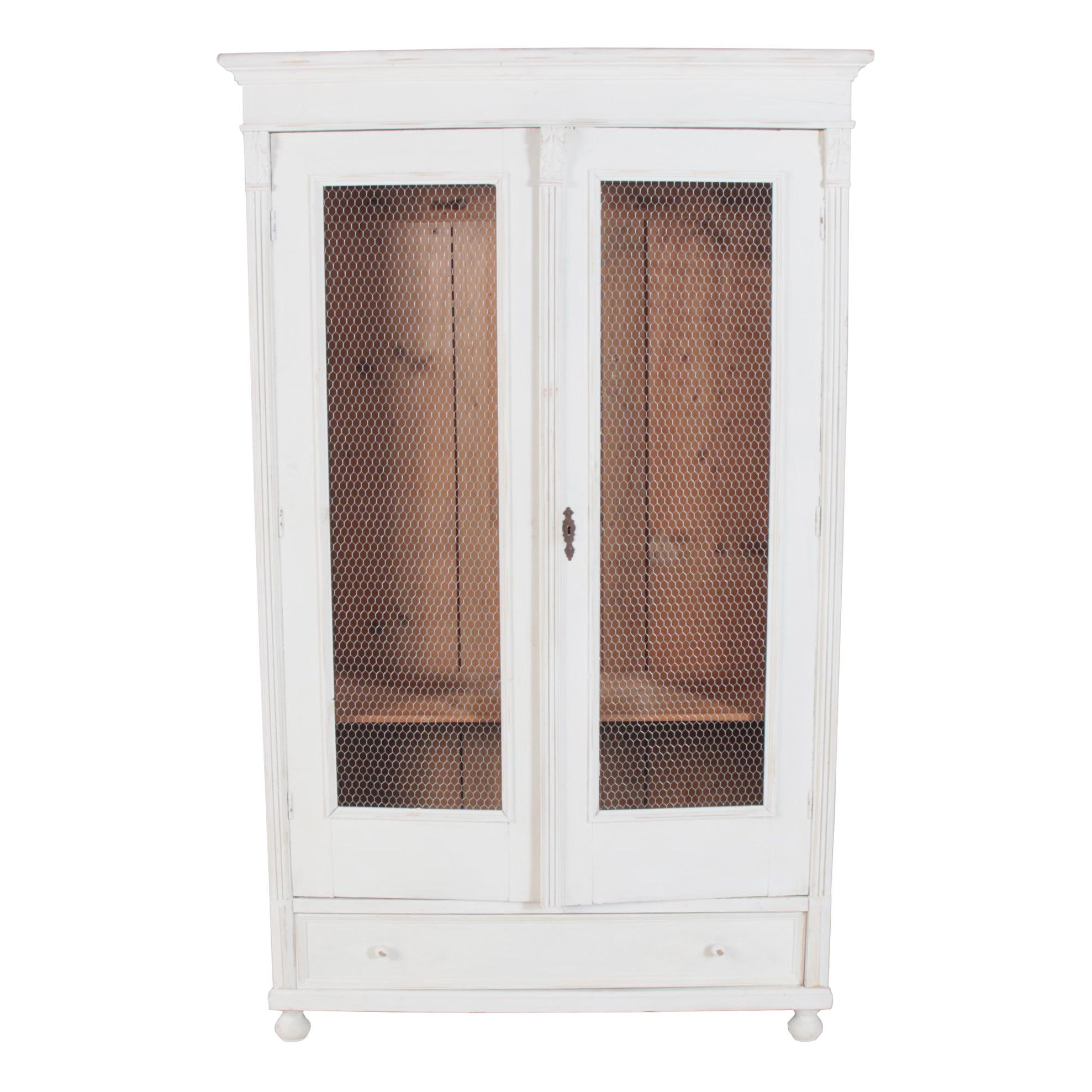 Continental Painted Pine Wardrobe with Chicken Wire Door Panels