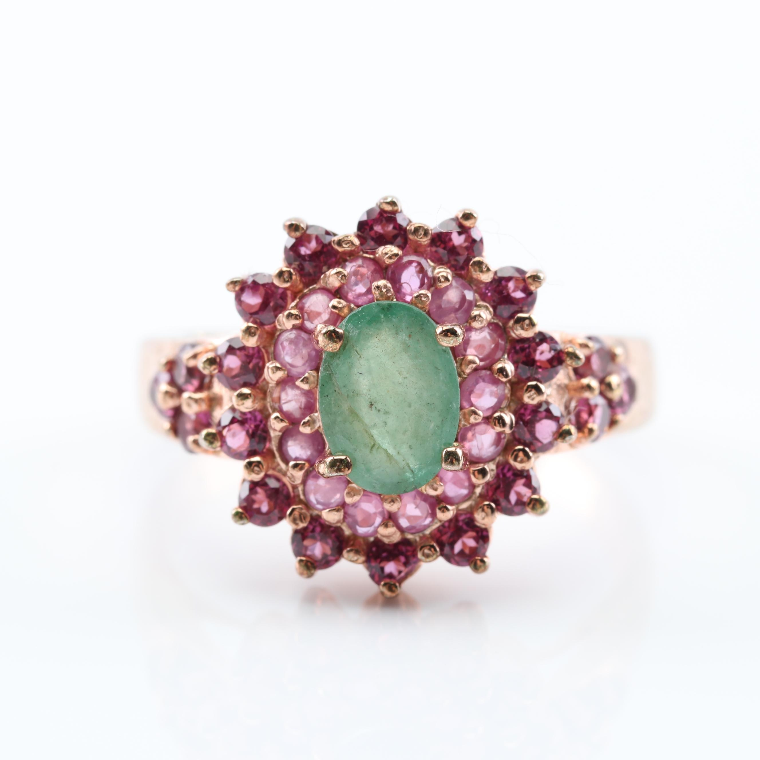 Sterling Silver Multi-Gemstone Halo Ring with Rose Gold Wash