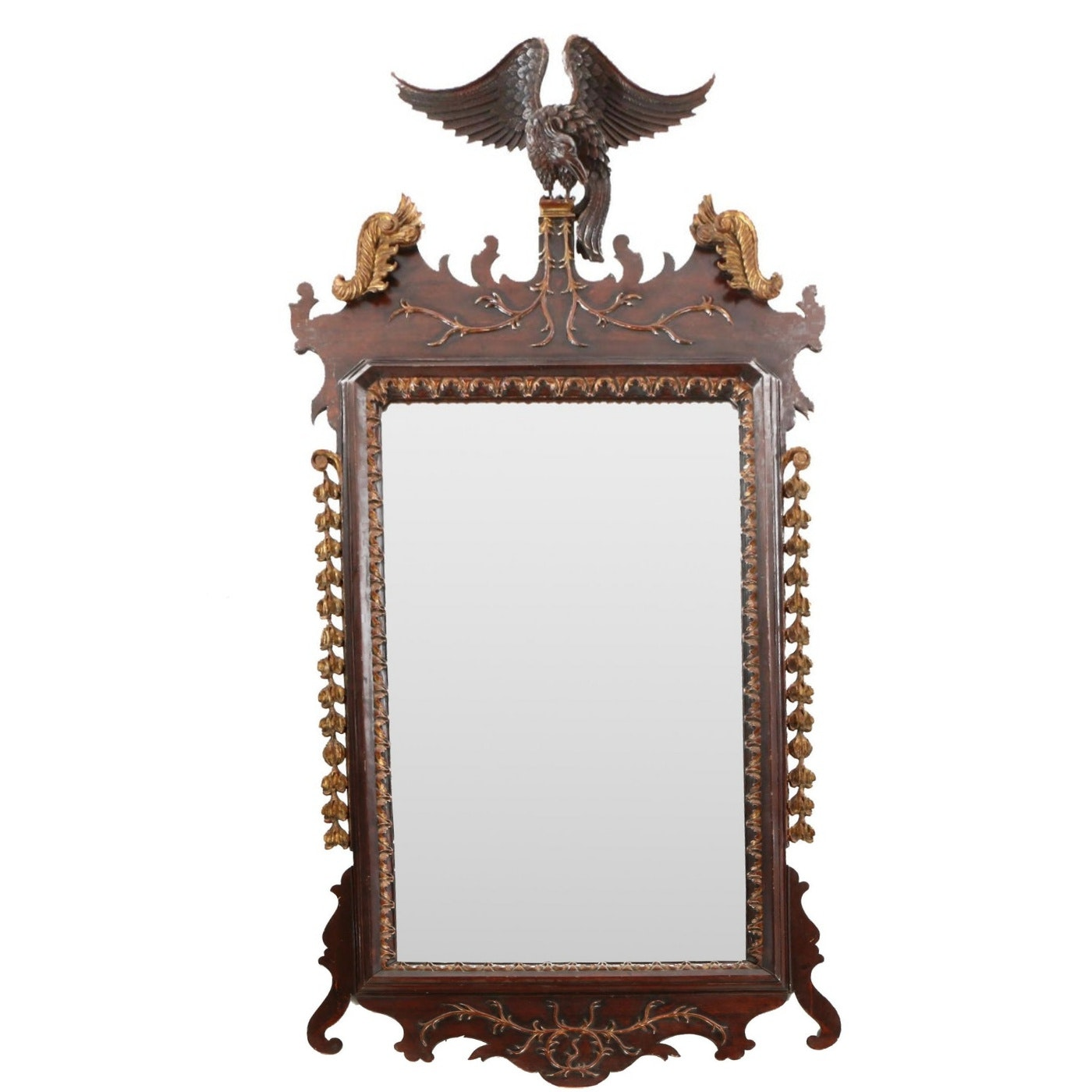 George III Style Mahogany and Parcel-Gilt Mirror, 20th Century