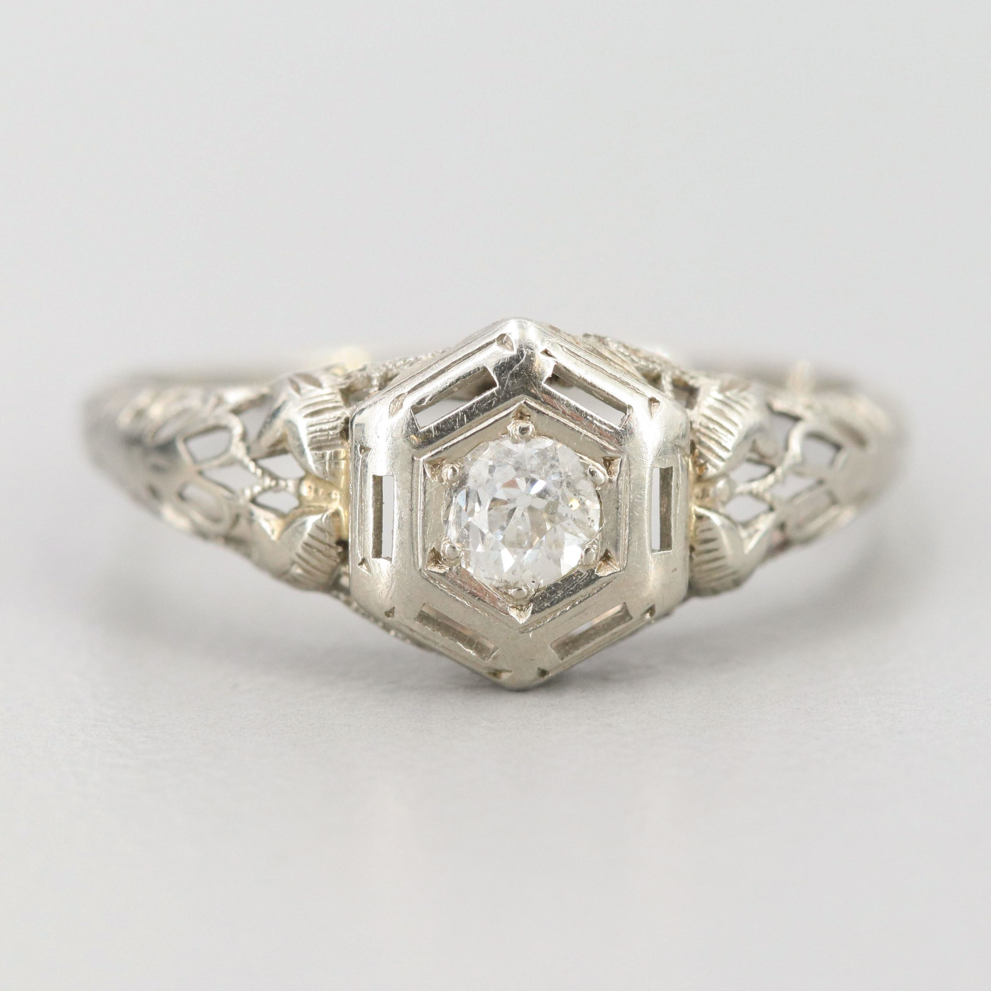 Vintage 18K White Gold Diamond Ring with Filagree Detail