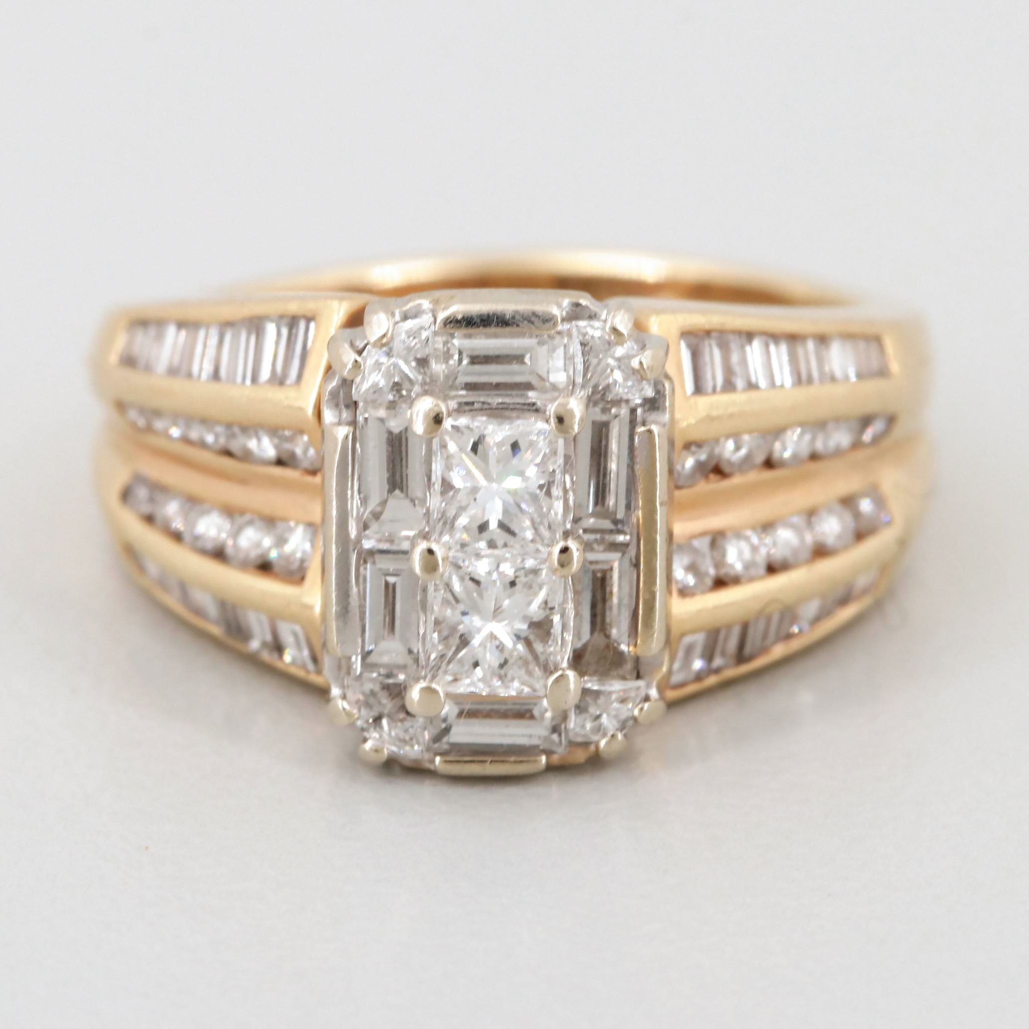 14K White and Gold 1.75 CTW Diamond Ring