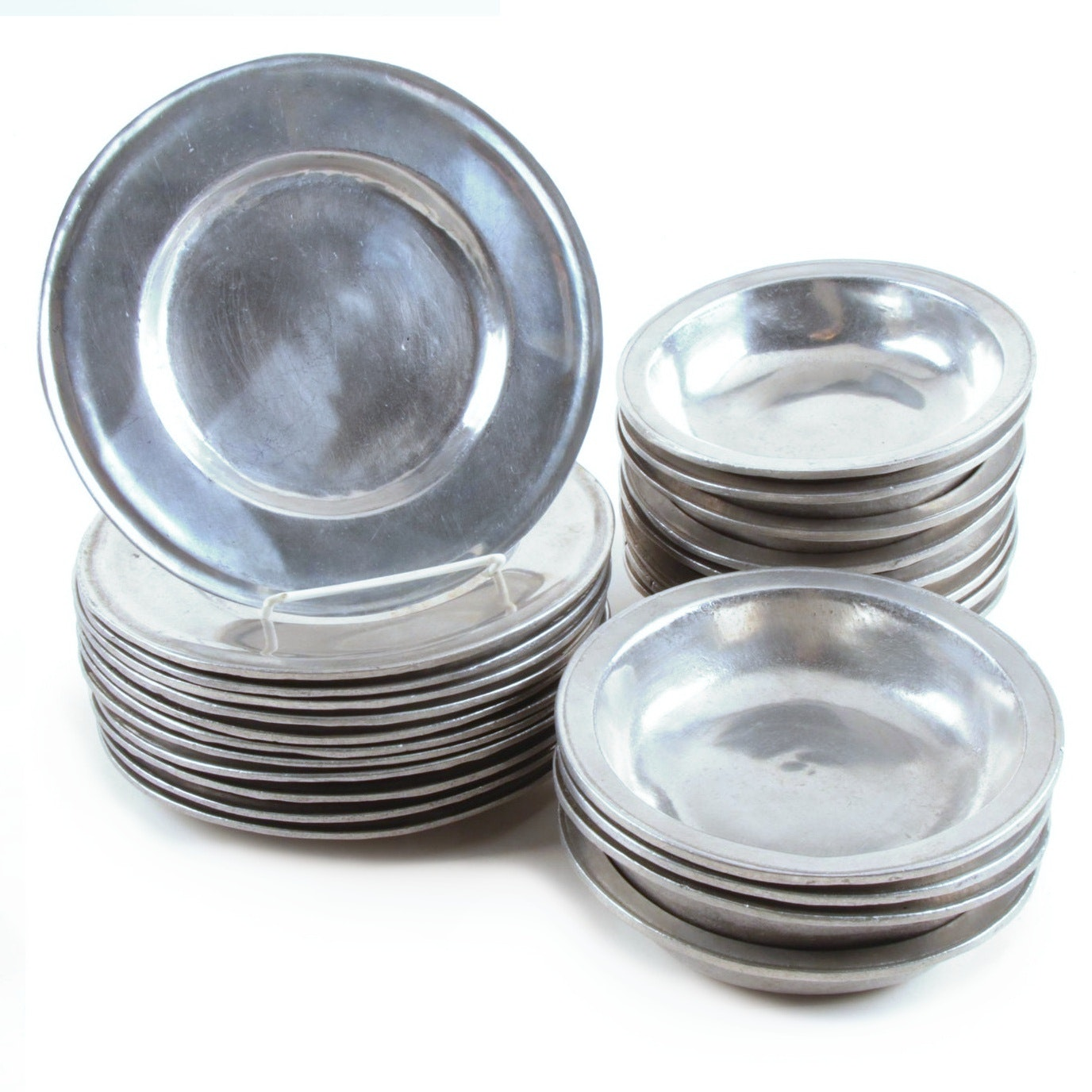 Pewter Salad Plate and Bowl Set, Early 20th Century
