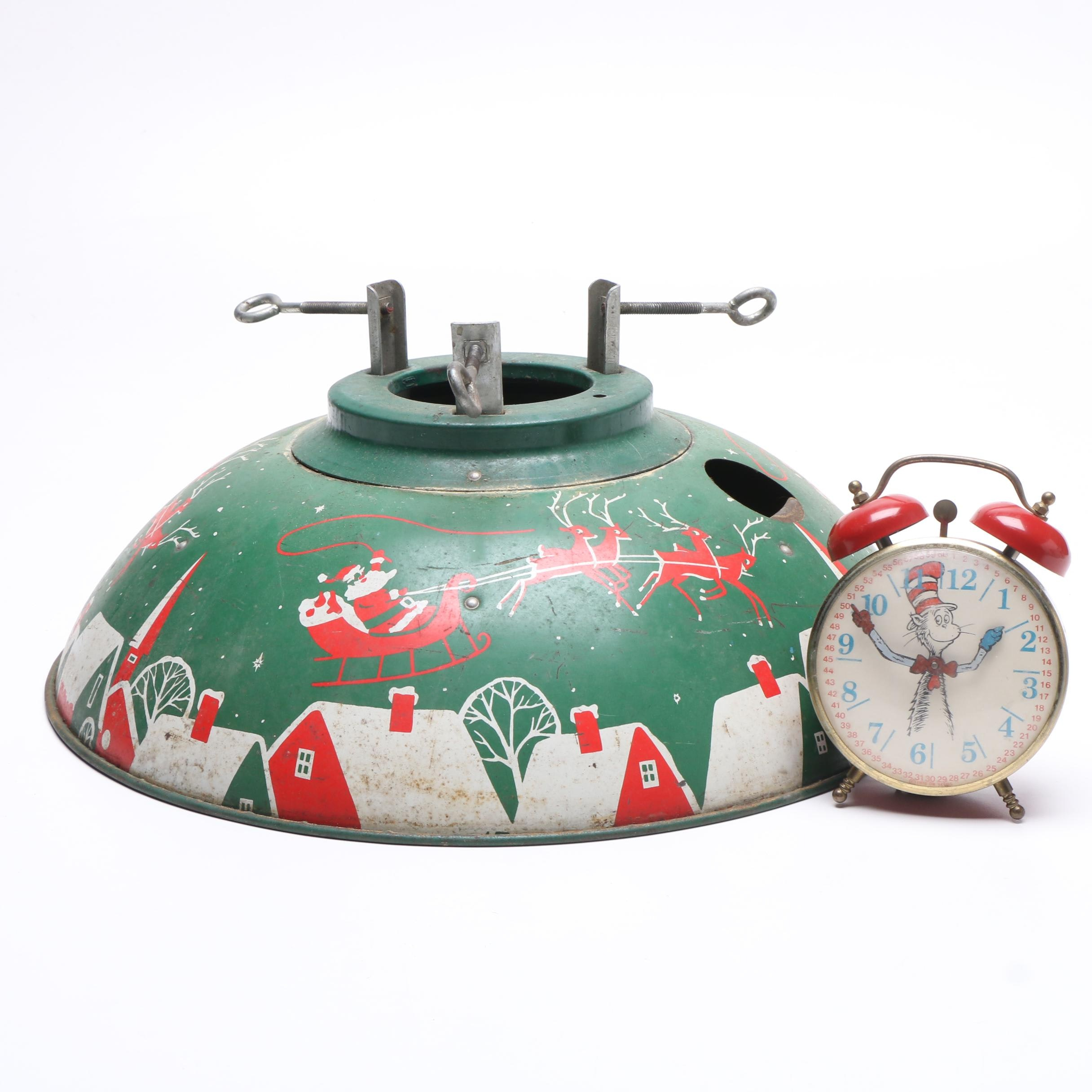Dr. Seuss Alarm Clock with Christmas Tree Stand, Mid-Century